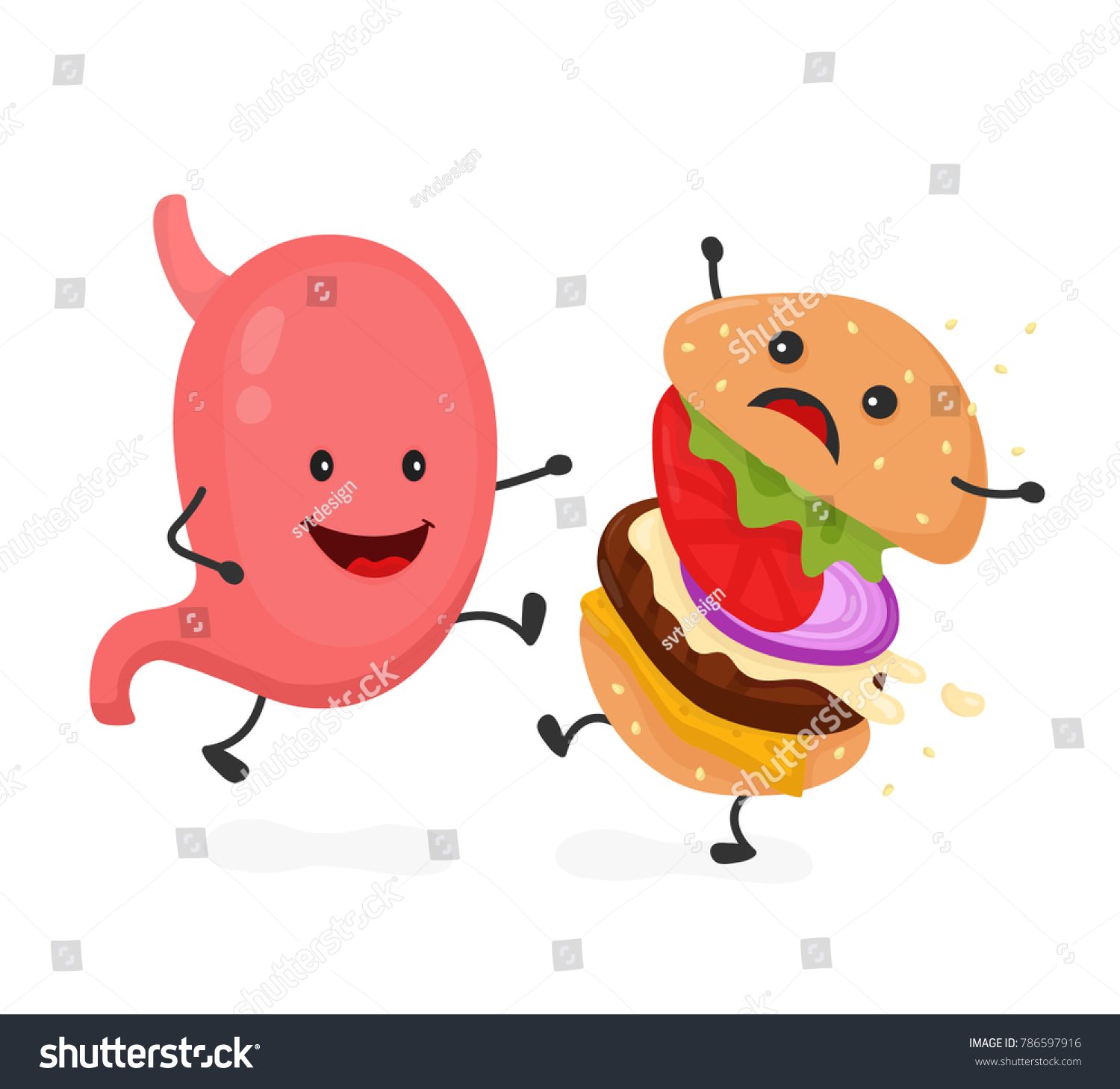 Happy Smile Strong Stomach Kick Burger Stock Illustration 786597916 Muscle Anatomy Diagram By And Burgers Hamburger Modern Flat Style Cartoon Character Icon