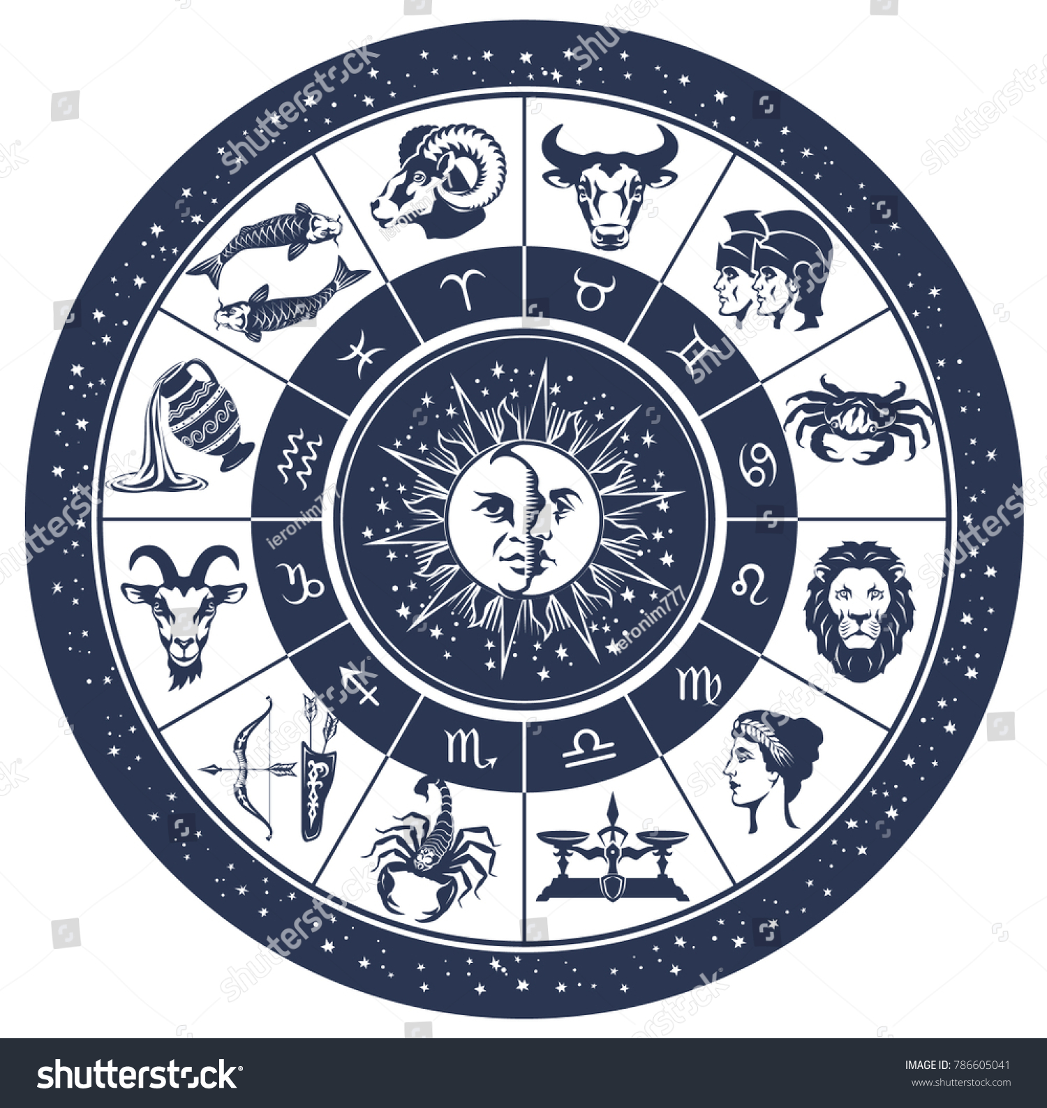 Vector graphic illustration zodiac astrology circle stock vector vector graphic illustration zodiac astrology circle with zodiac signs aries taurus gemini biocorpaavc Images