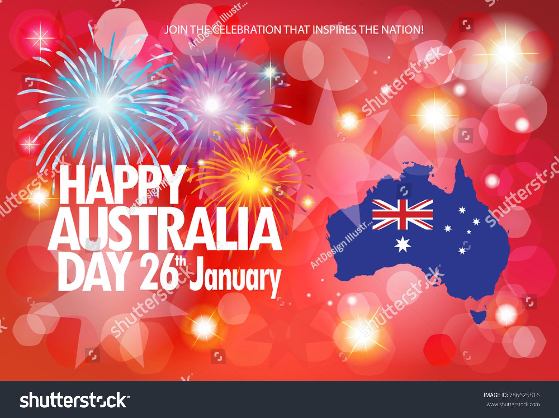 Happy Australia Day 26th January Celebration Stock Vector Royalty