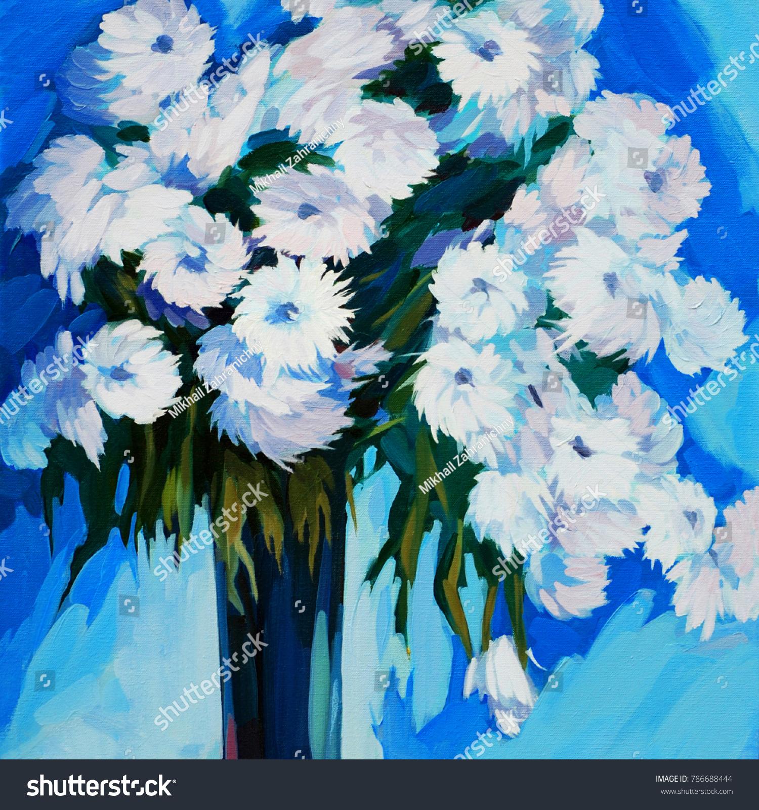White flowers vase oil painting on stock illustration 786688444 white flowers in a vase oil painting on canvas illustration floridaeventfo Images