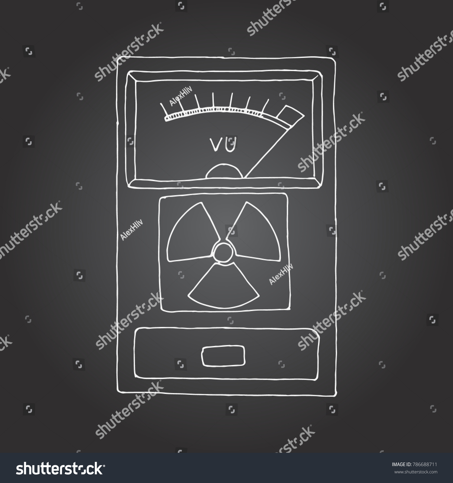 Geiger Counter Radiation Detector Meter Hand Stock Illustration Diagram Drawn Chalk Board Drawing