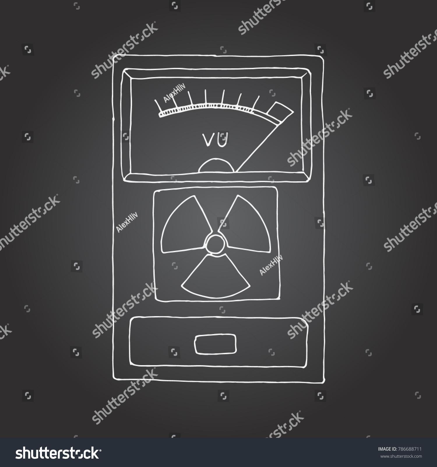 Geiger Counter Radiation Detector Meter Hand Stock Illustration Diagram Drawn Chalk Board Drawing
