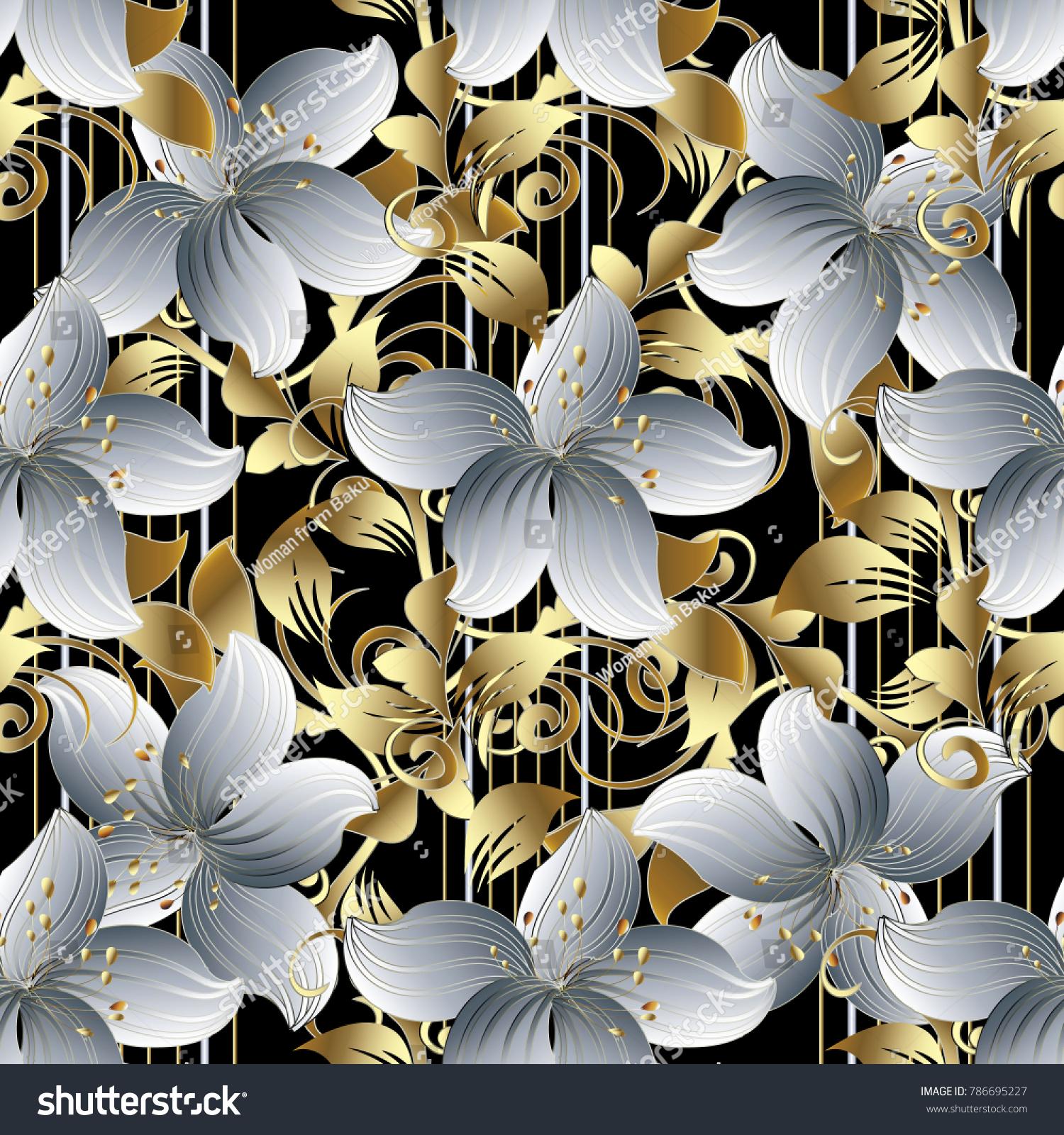 3 D Flowers Vector Seamless Pattern Black 786695227