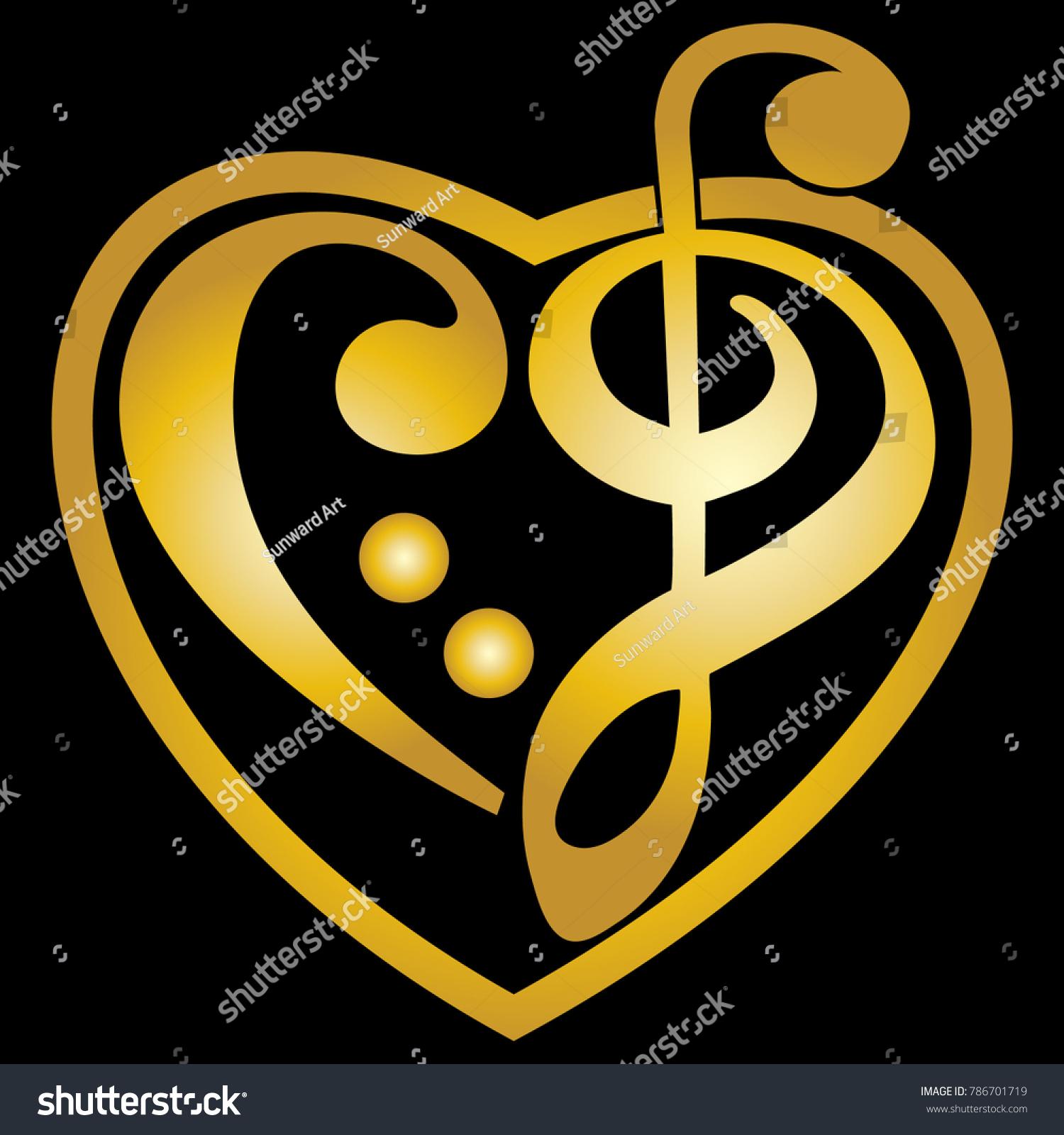 Gold Vector Heart Shaped Music Key Stock Vector Royalty Free