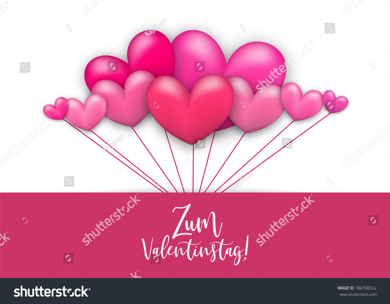 Schön Happy Valentines Day   Zum Valentinstag German Language. Realistic 3d Heart  Romantic