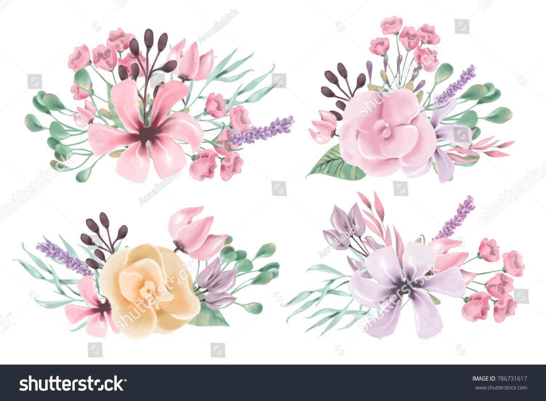 Beautiful Watercolor Floral Flowers Bouquet Set Stock Illustration ...
