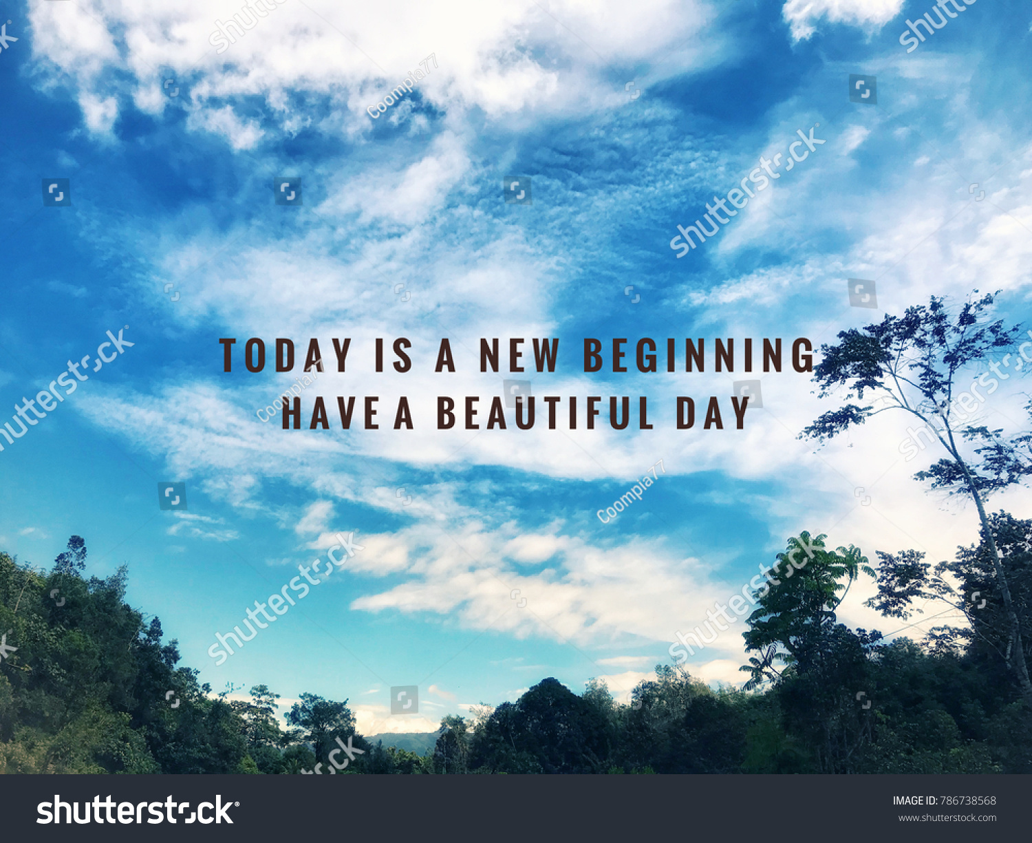 Motivational Inspirational Quotes Today New Beginning Stock Photo