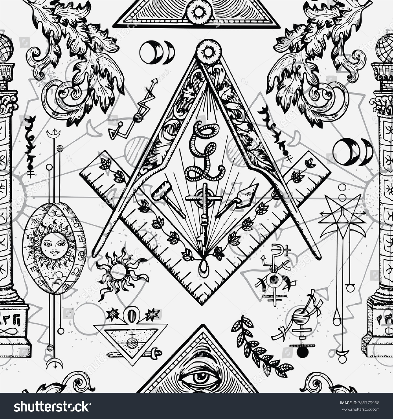 Seamless Background With Mason And Mysterious Symbols Freemasonry