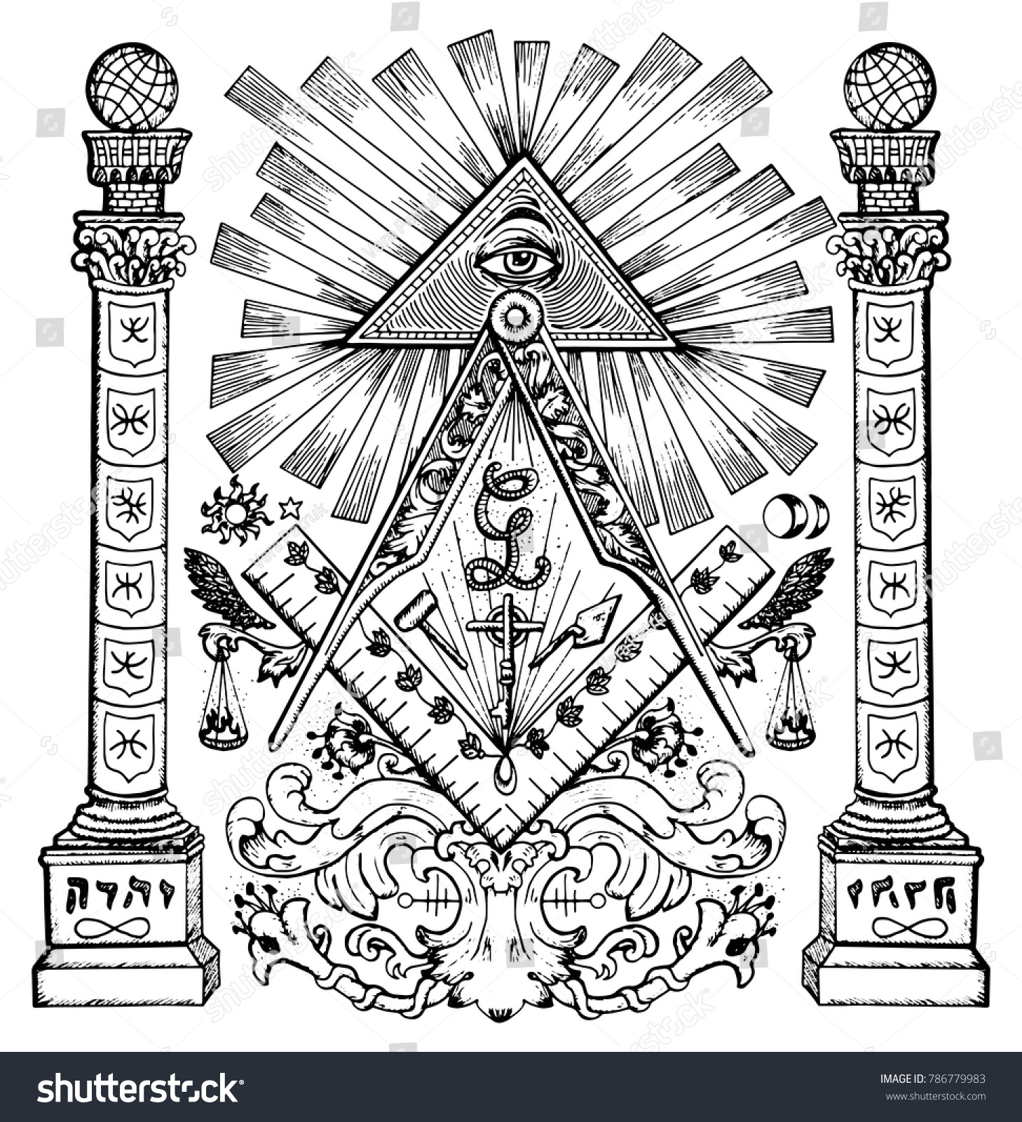 Graphic Illustration With Mason Mysterious Symbols Freemasonry And