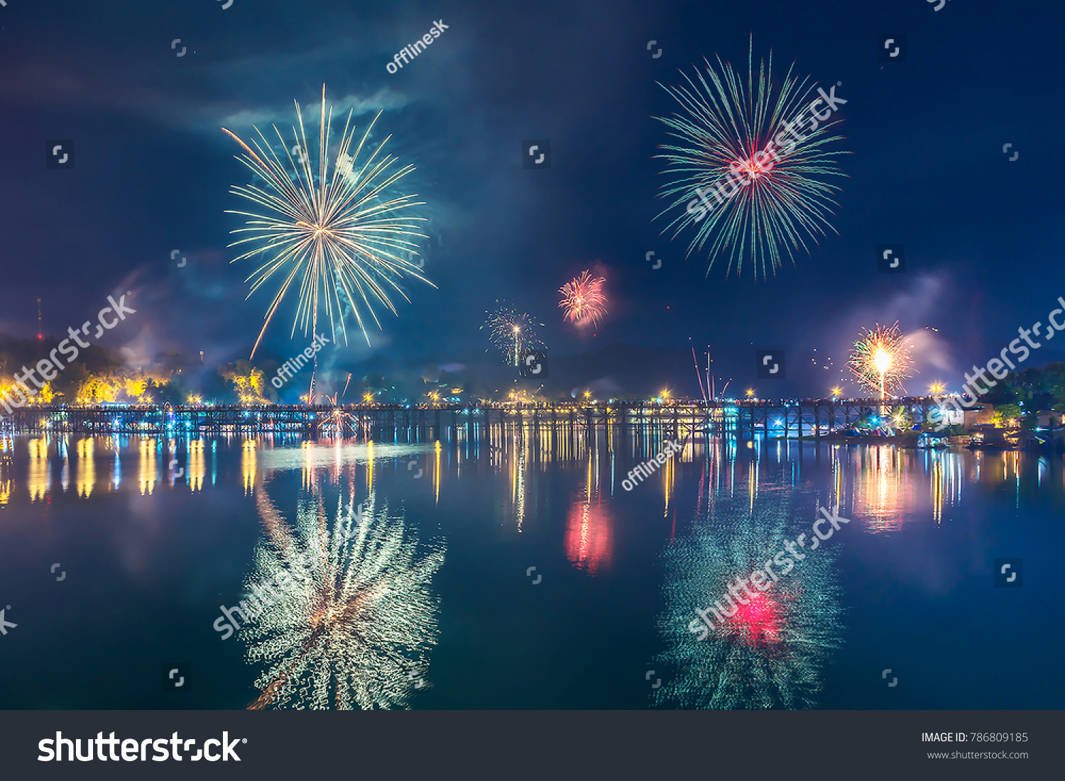 firework in happy new year 2018 at thailand
