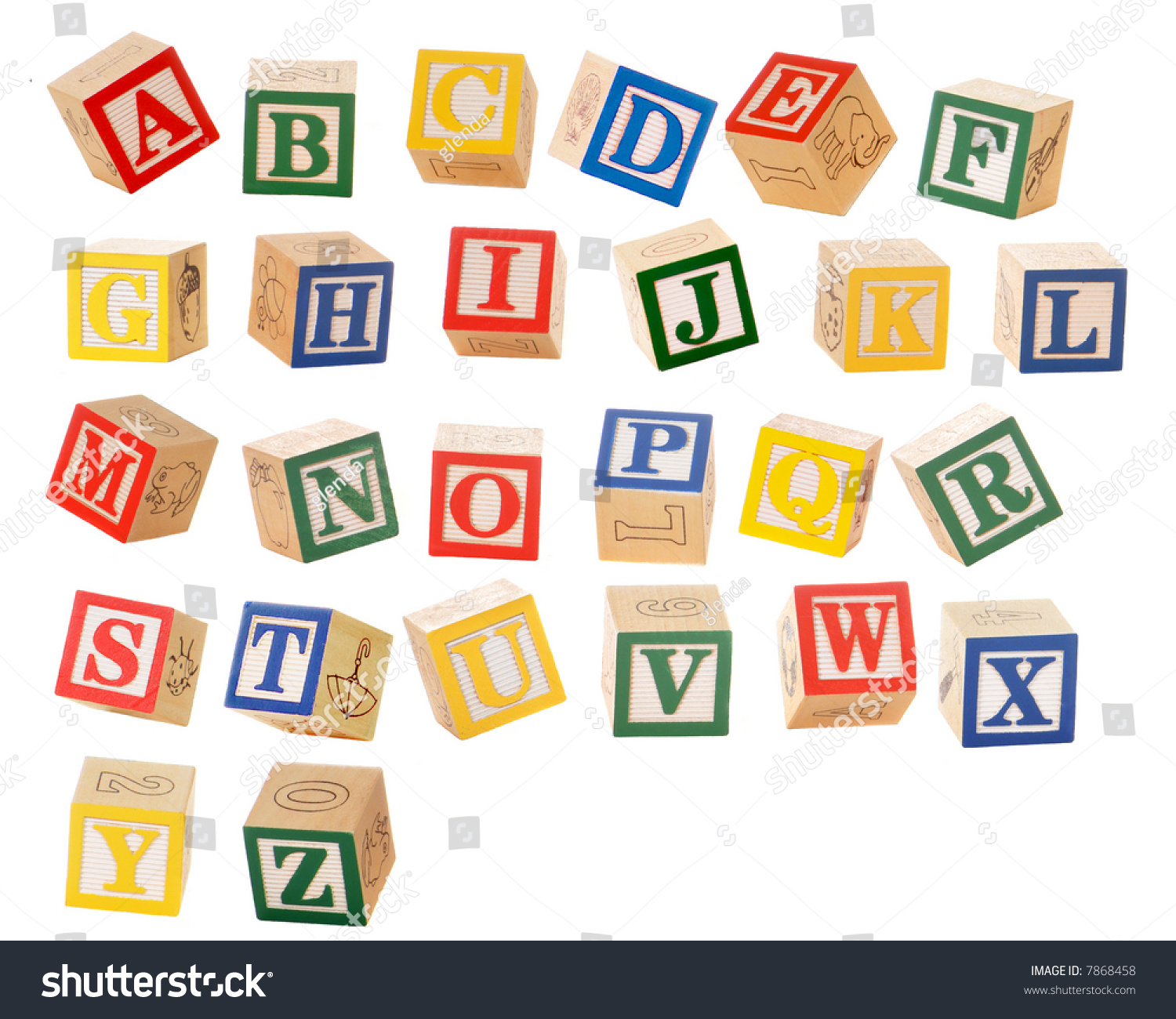 separated alphabet blocks of all the letters in various orientations as if they could be