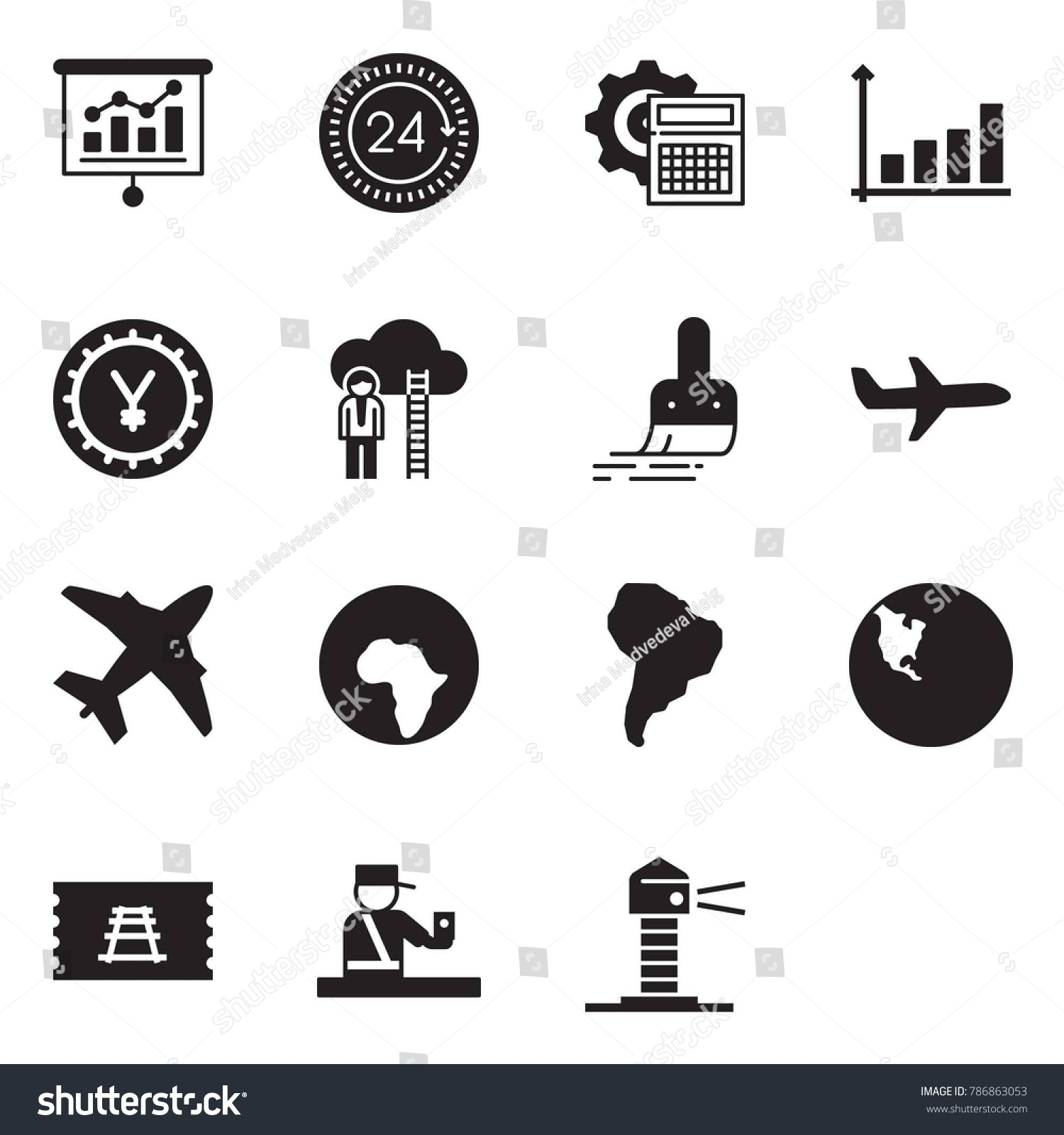 Solid black vector icon set presentation stock vector 786863053 solid black vector icon set presentation vector 24 hours calculator gear growth nvjuhfo Choice Image