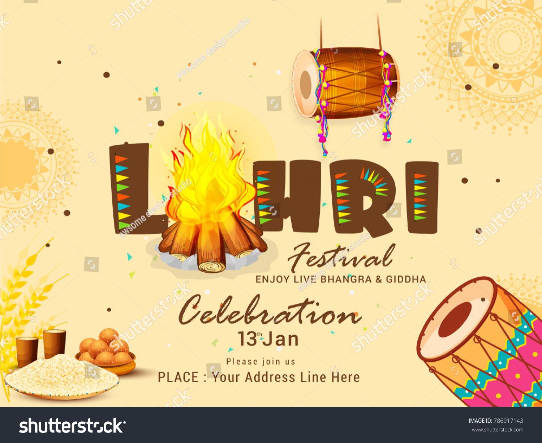illustration punjabi festival lohri celebration invitation の