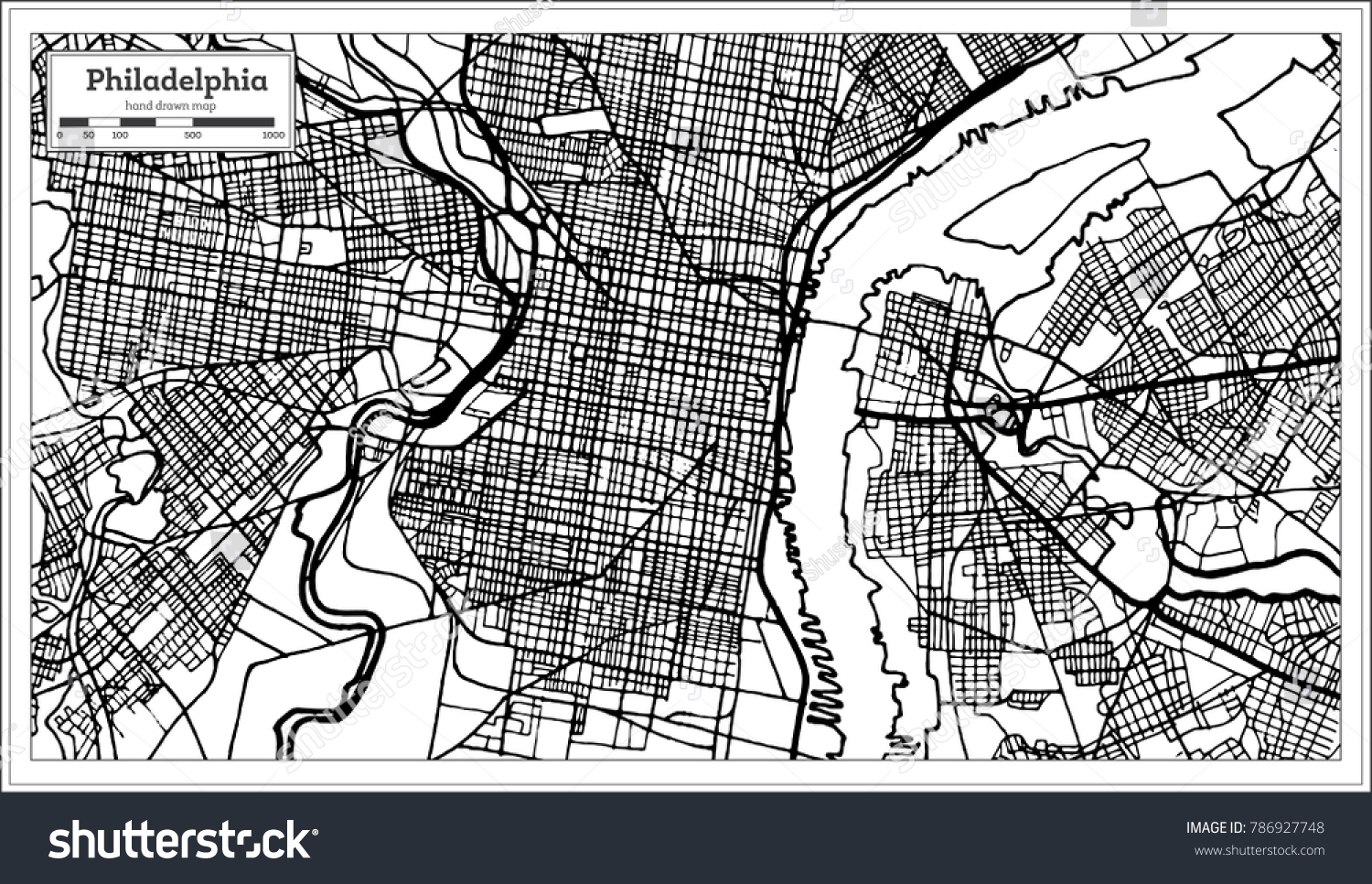 Line Art Usa Map : Philadelphia pennsylvania usa map black white stock vector