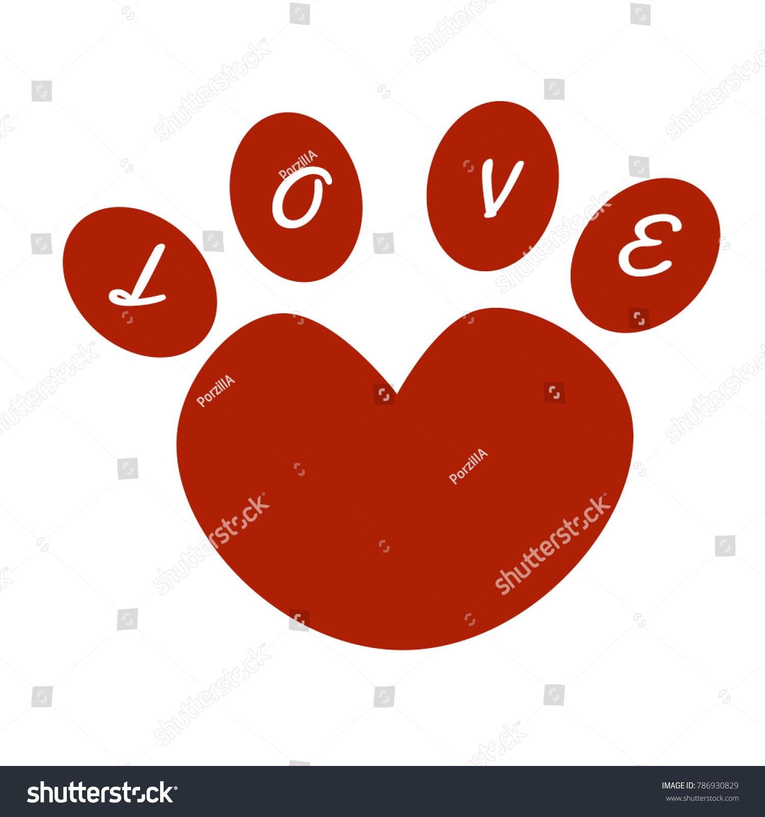 Heart Shape Love Texting On Animal Stock Vector 786930829 Shutterstock