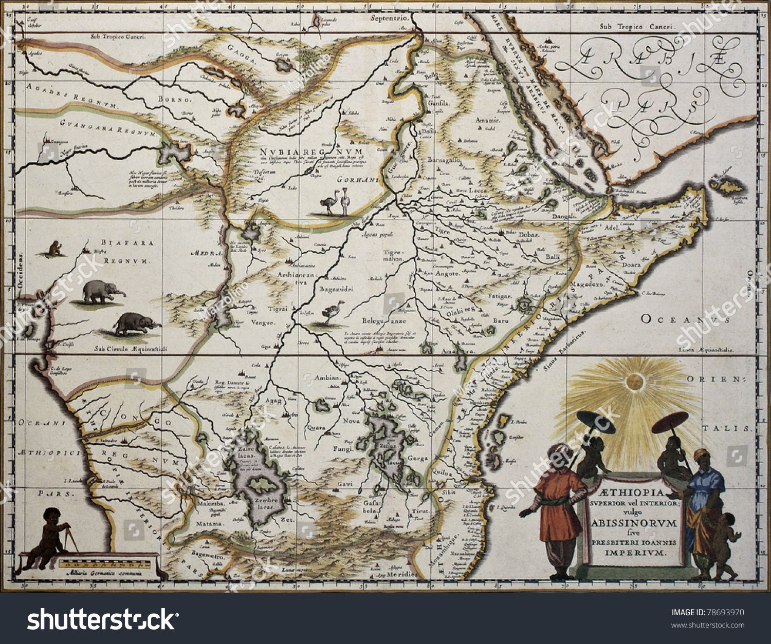Ethiopia Old Map Created By Joan Stock Photo Shutterstock - Map sweden 1650