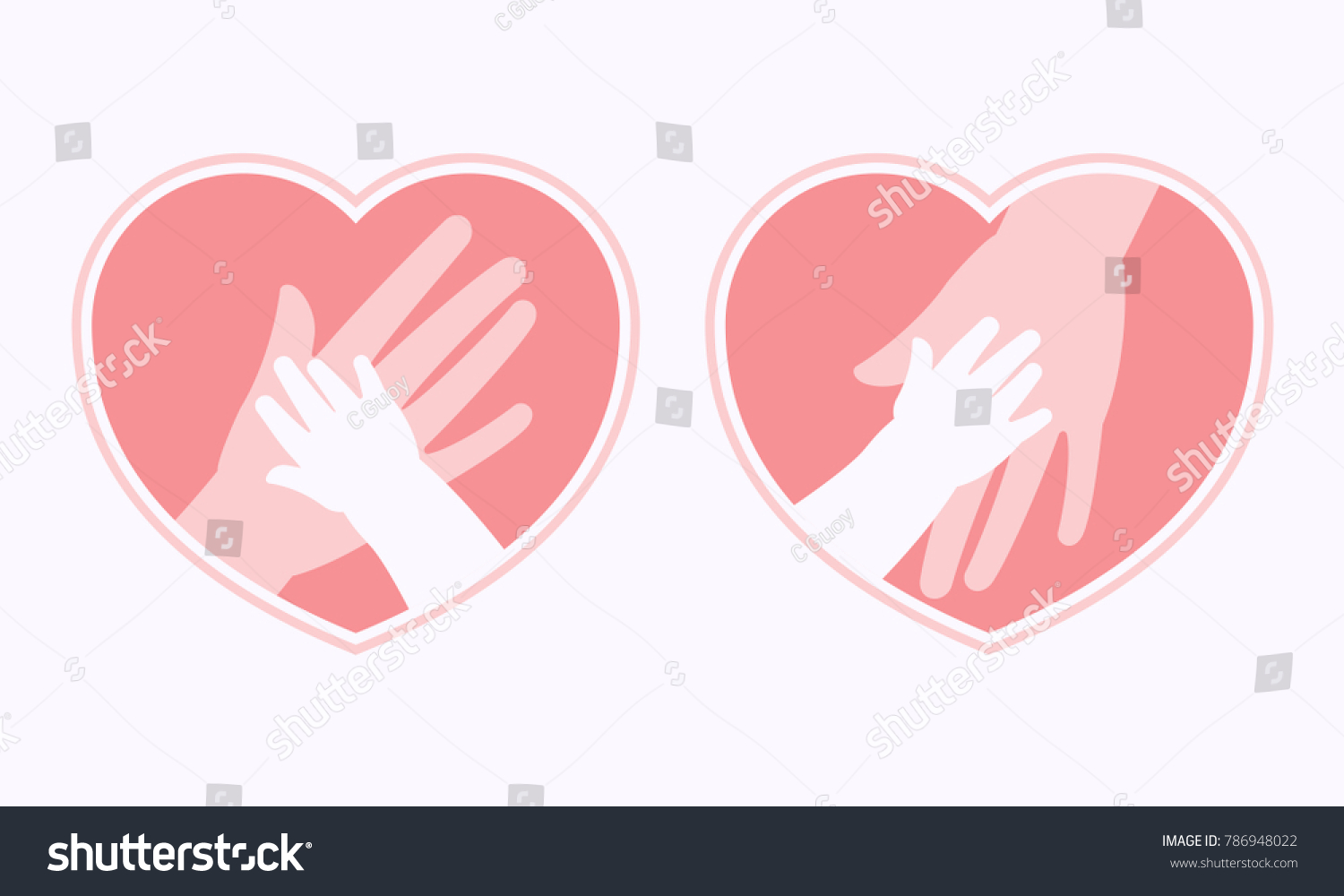 Big hand of mother holding small hand of baby inside heart shaped ...