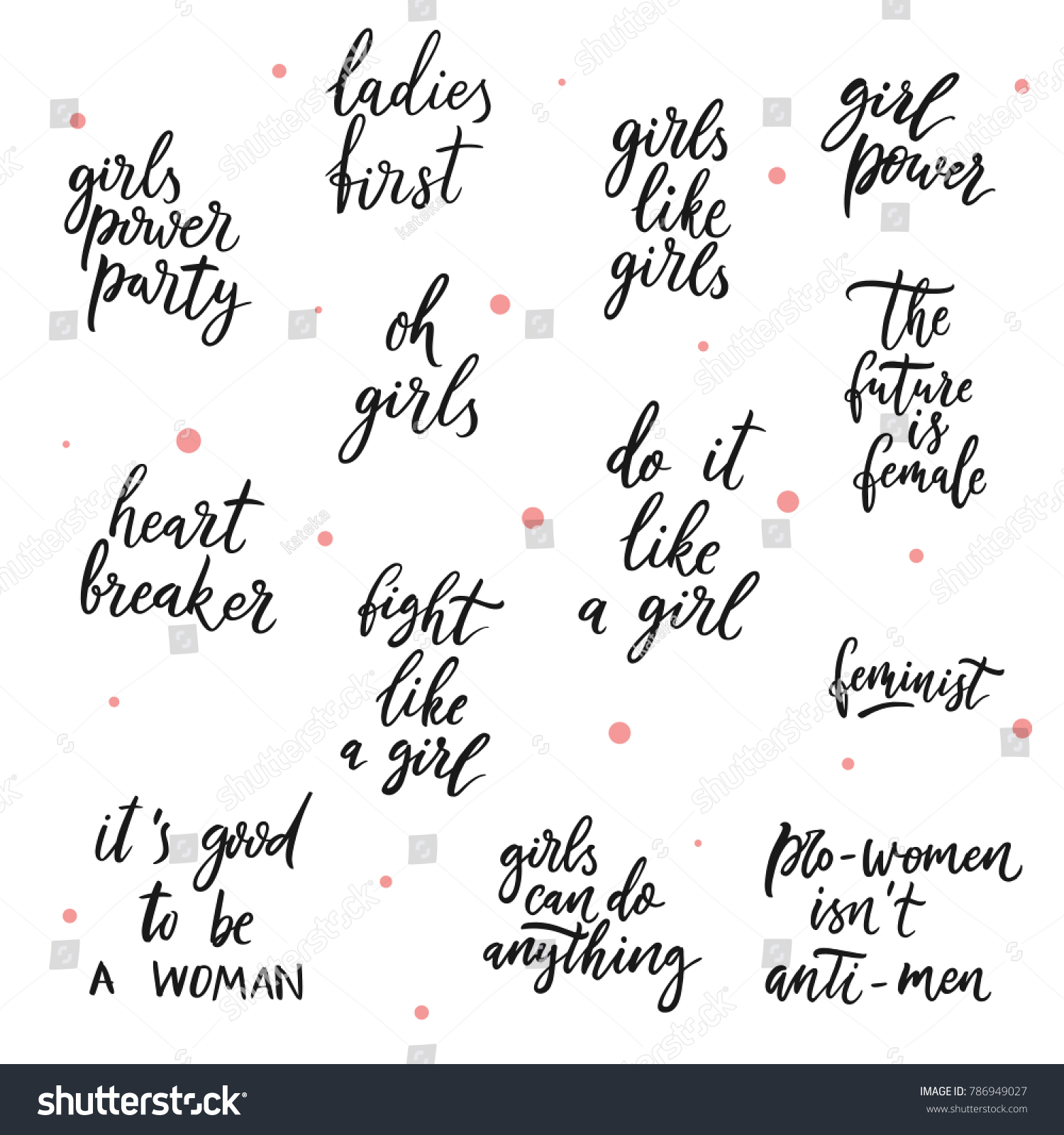 Good Quotes For Girls Set Girls Vector Quotes Girls Power Stock Vector 786949027