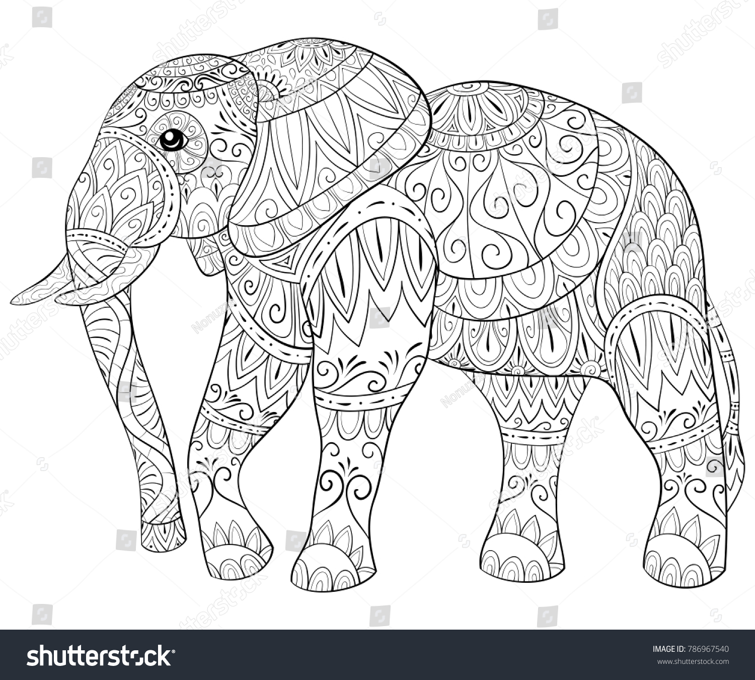 Adult Coloring Bookpage Cute Elephant Relaxing Stock Vector ...