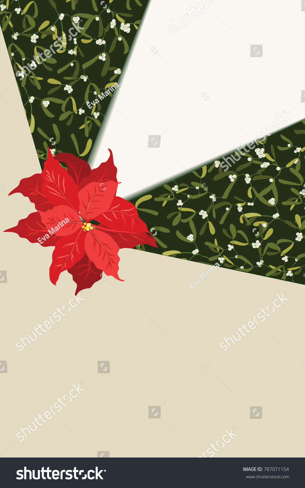 Floral Vintage Invitation Card Poinsettia Winter Stock Illustration ...
