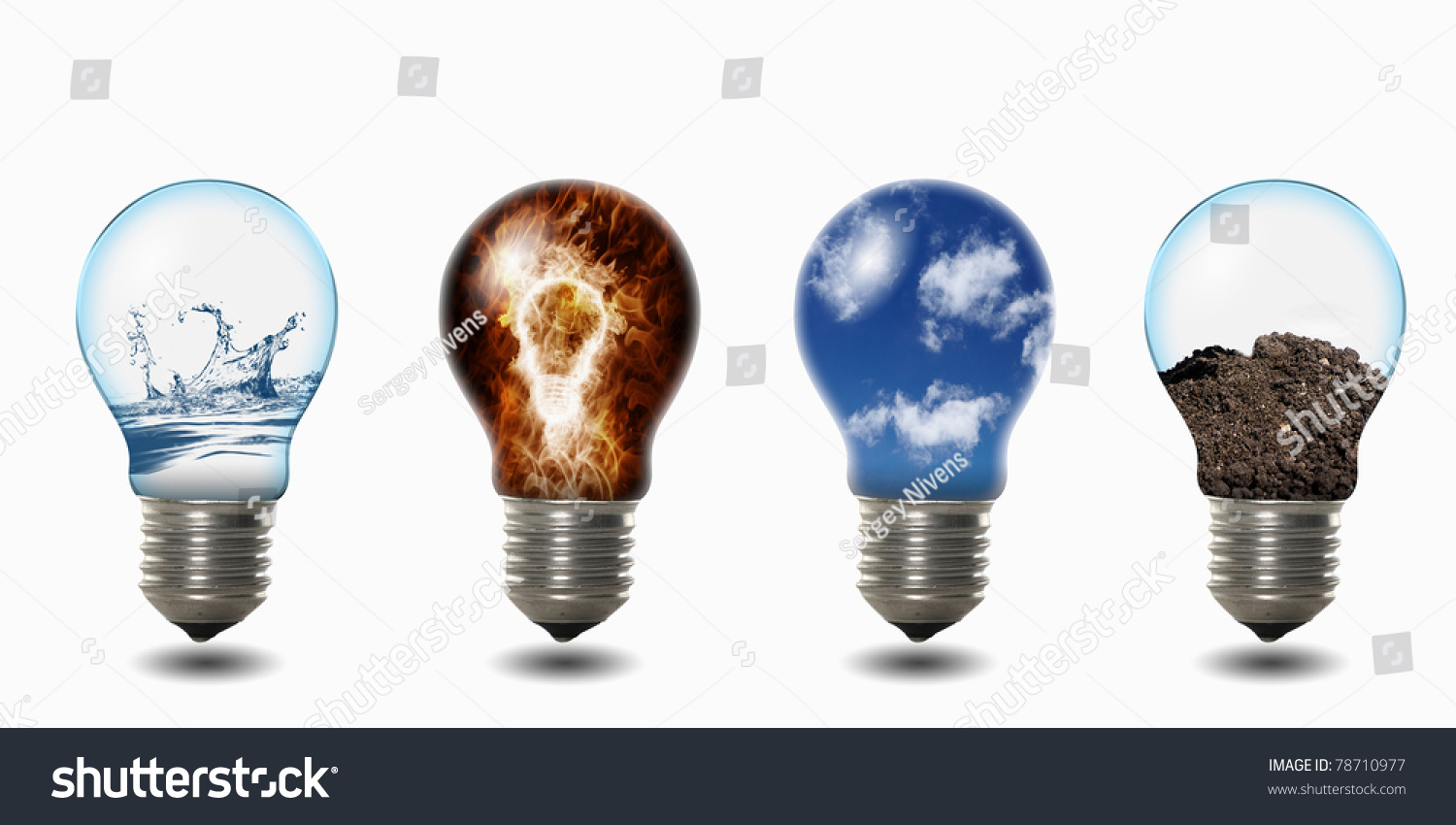 Fire Light Bulb: light bulb with four elements of fire, air, water and soil inside,Lighting