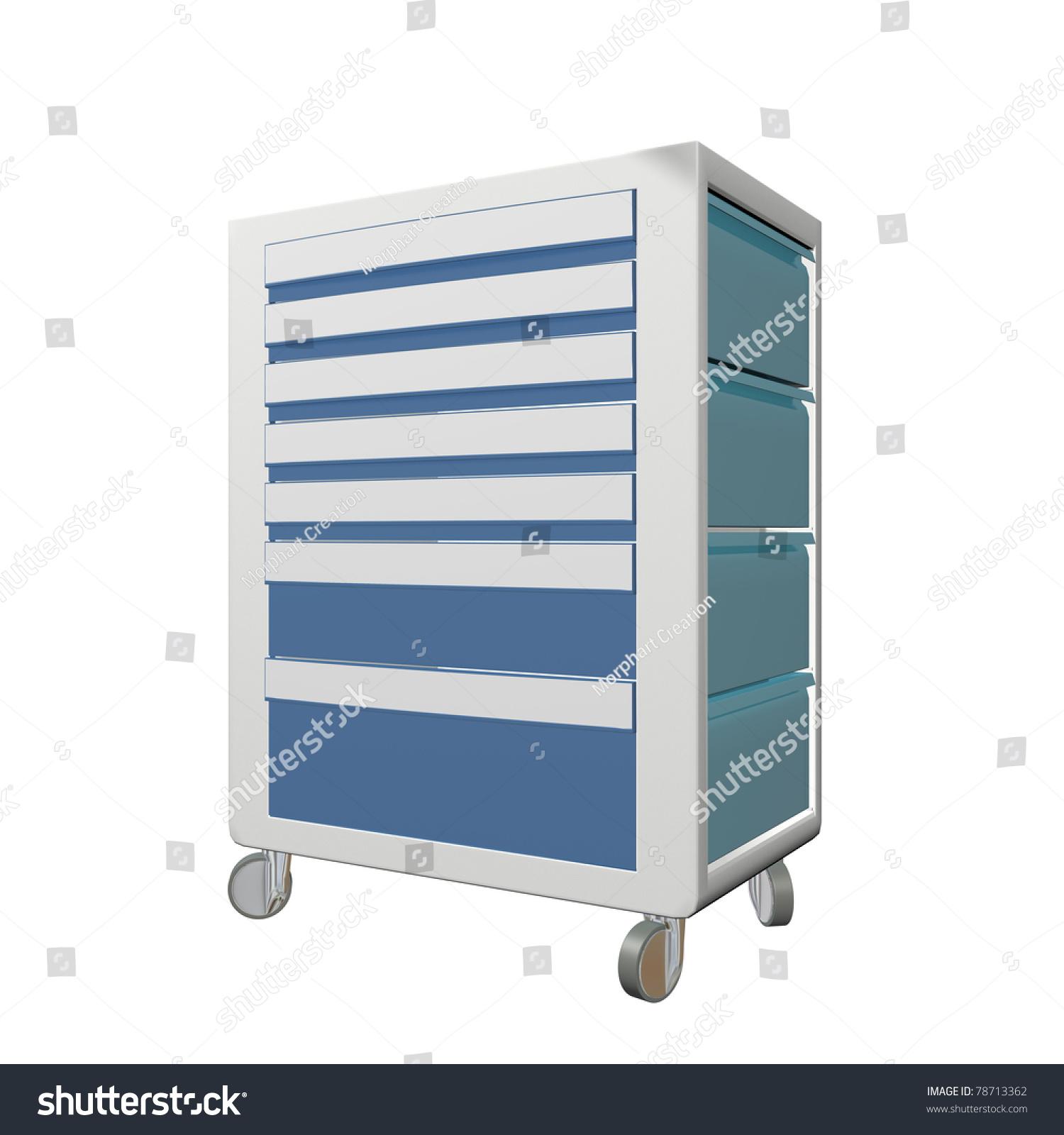 Blue Grey Metal Medical Supply Cabinet Stock Illustration 78713362 ...