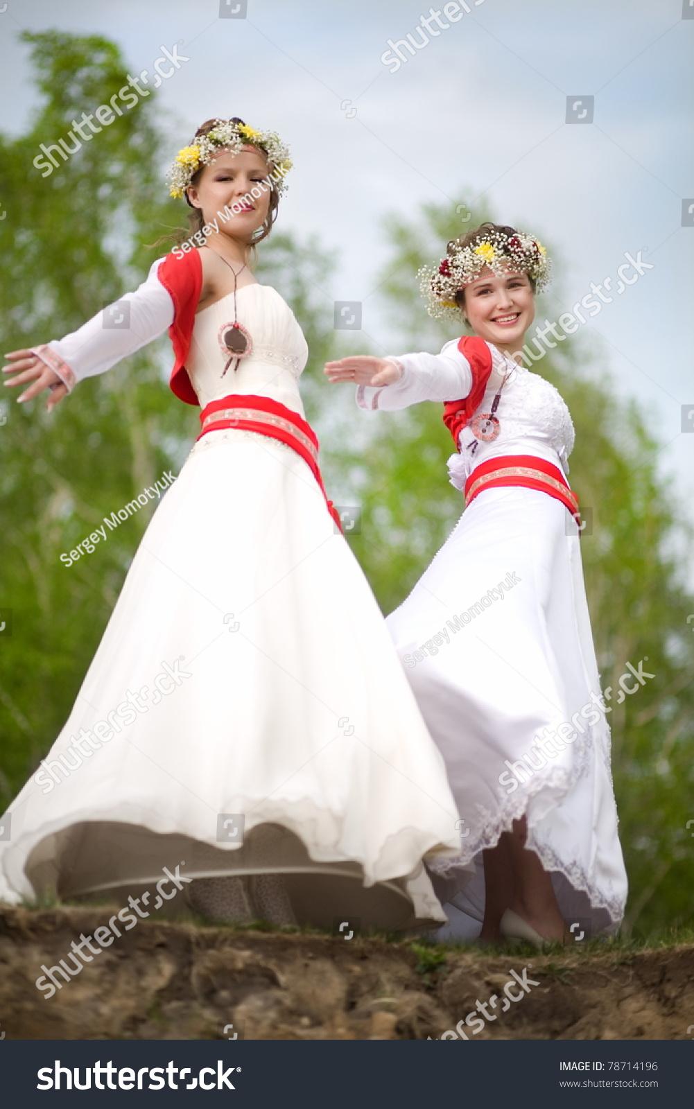 Bride Stylized Russian Style Wedding Dress Stock Photo (100% Legal ...
