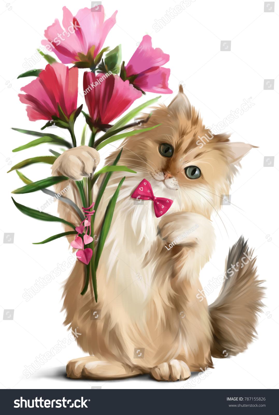 Modern Kitten Flower Bouquet Ornament - Wedding and flowers ...