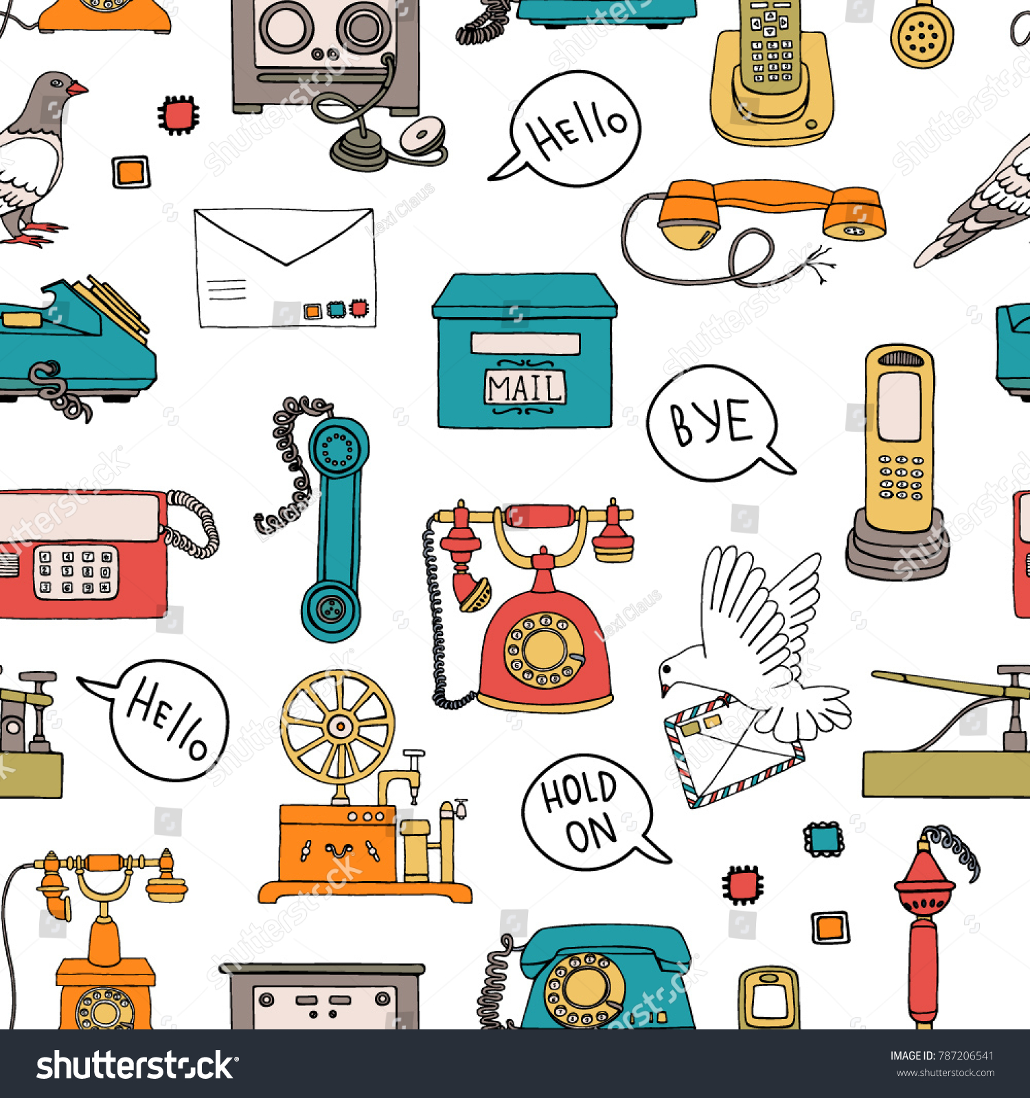 Vector Seamless Pattern Vintage Means Communication Stock Rotary Telephone Wiring Diagram Of Retro Repeat Backdrop With Wired Dial