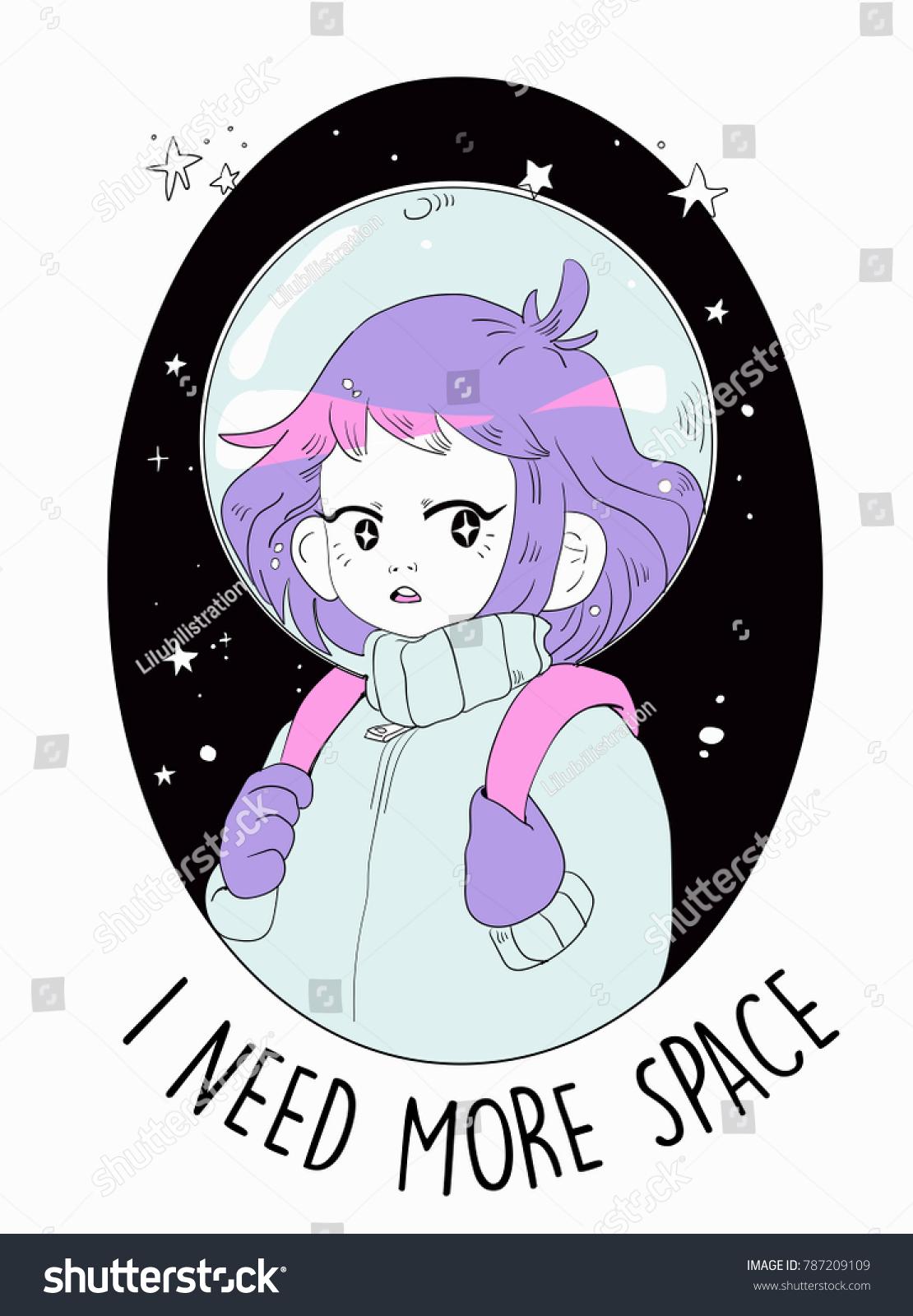 Space Girl Vector Illustration Drawing Stock Vektorgrafik