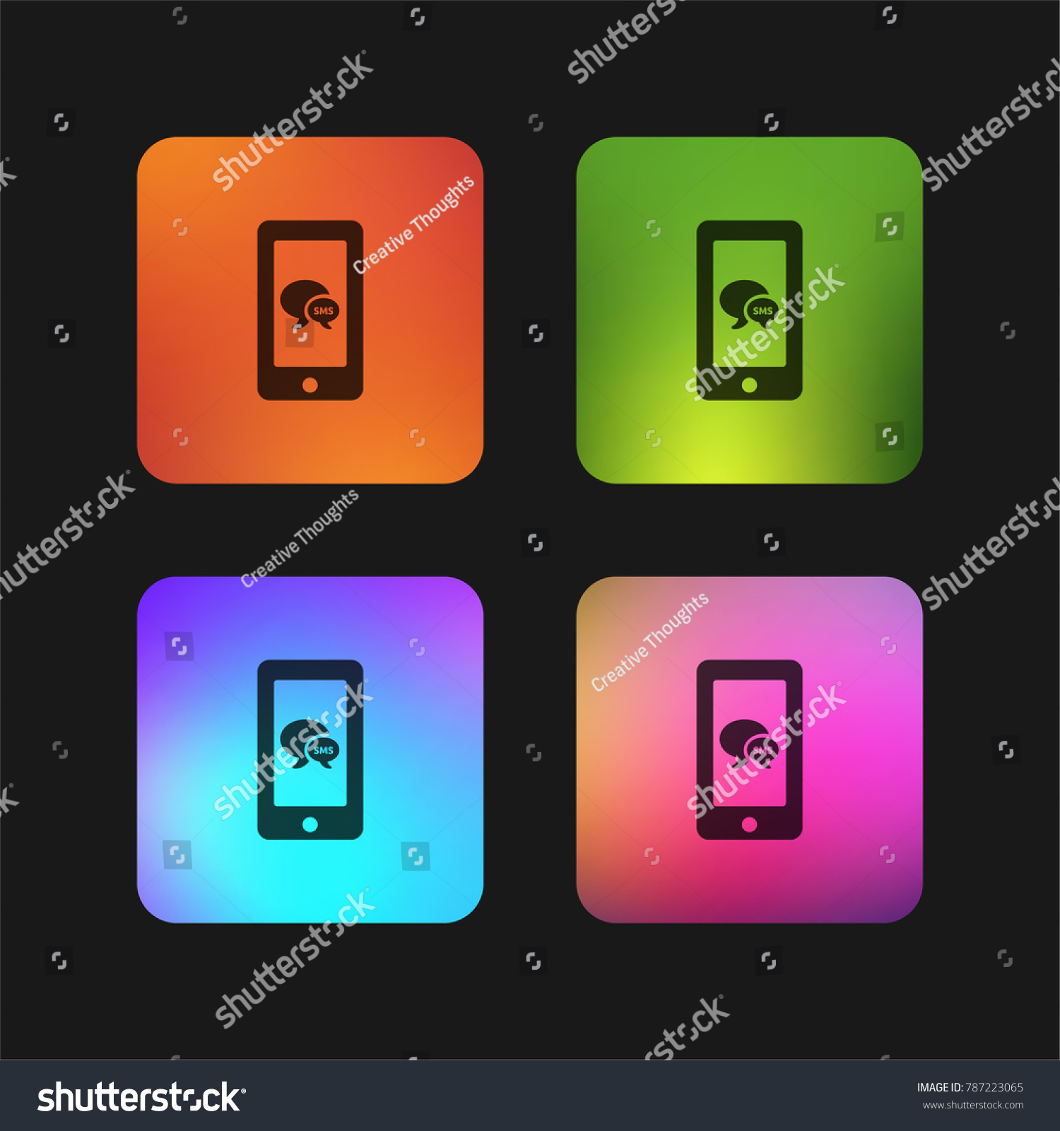 Sms Bubbles Symbol On Phone Screen Stock Vector Royalty Free