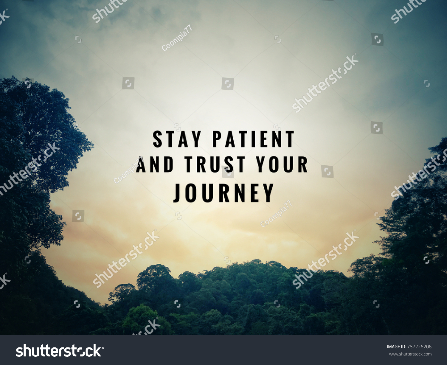 Motivational Inspirational Quotes Stay Patient Trust Stock Photo