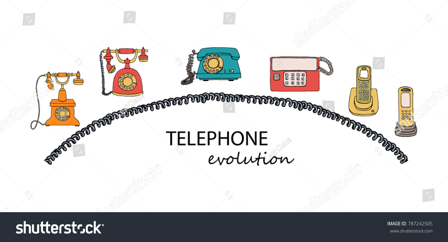 Vector Illustration Phone Evolution Wire Frame Stock Royalty Rotary Telephone Wiring Diagram Of With Vintage Means Communication Set