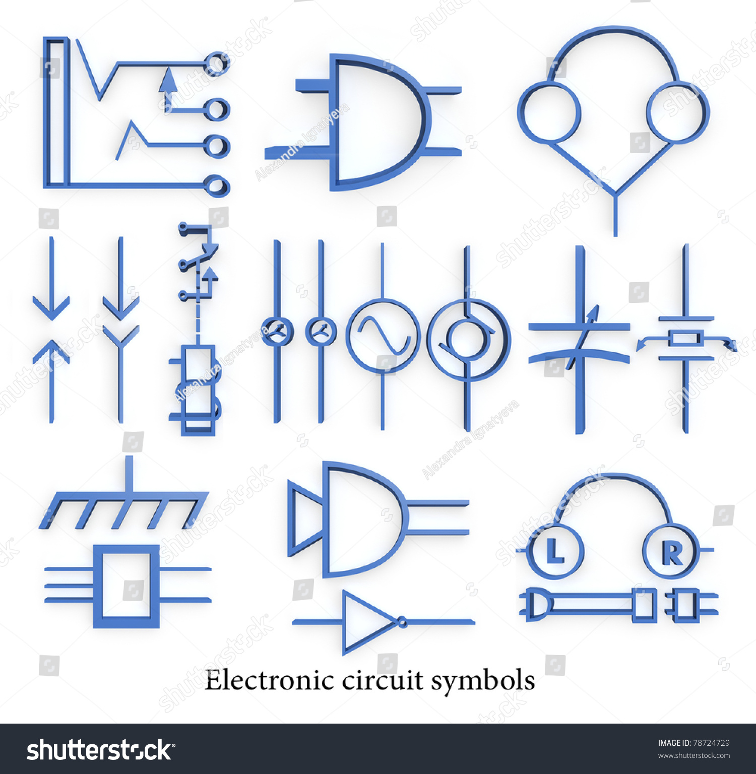 Electronic Circuit Symbols Stock Illustration 78724729 Shutterstock Schematics Circuits