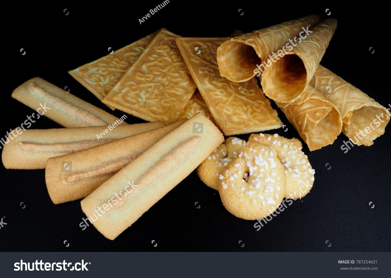 Pile Assorted Norwegian Traditional Christmas Cookies Stock Photo ...
