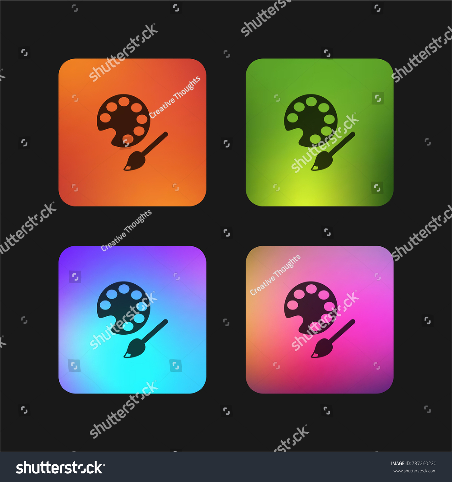Color Palette With Brush For Art Education Four Gradient App Icon Design