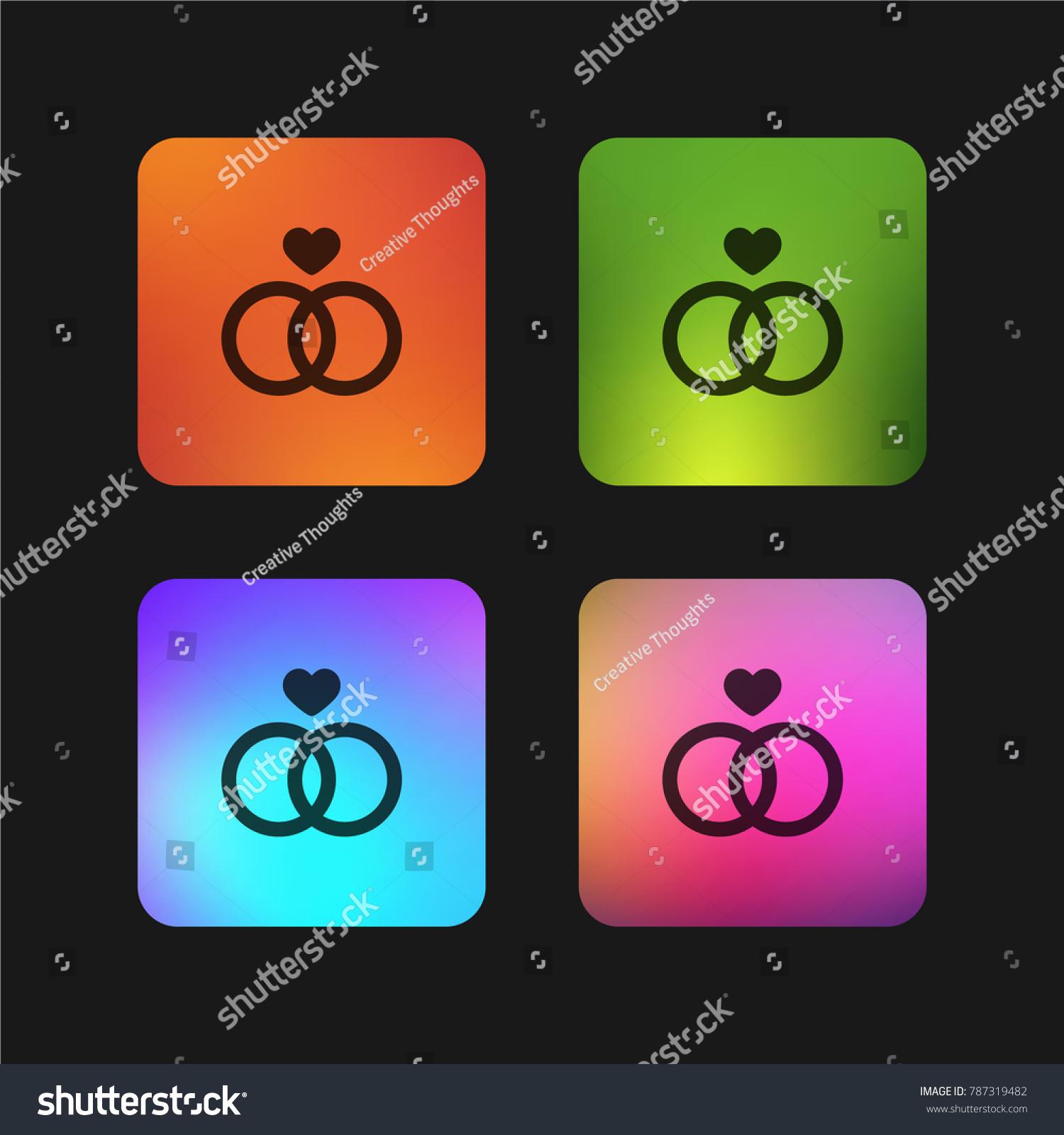 wedding ring four color gradient app stock vector 787319482