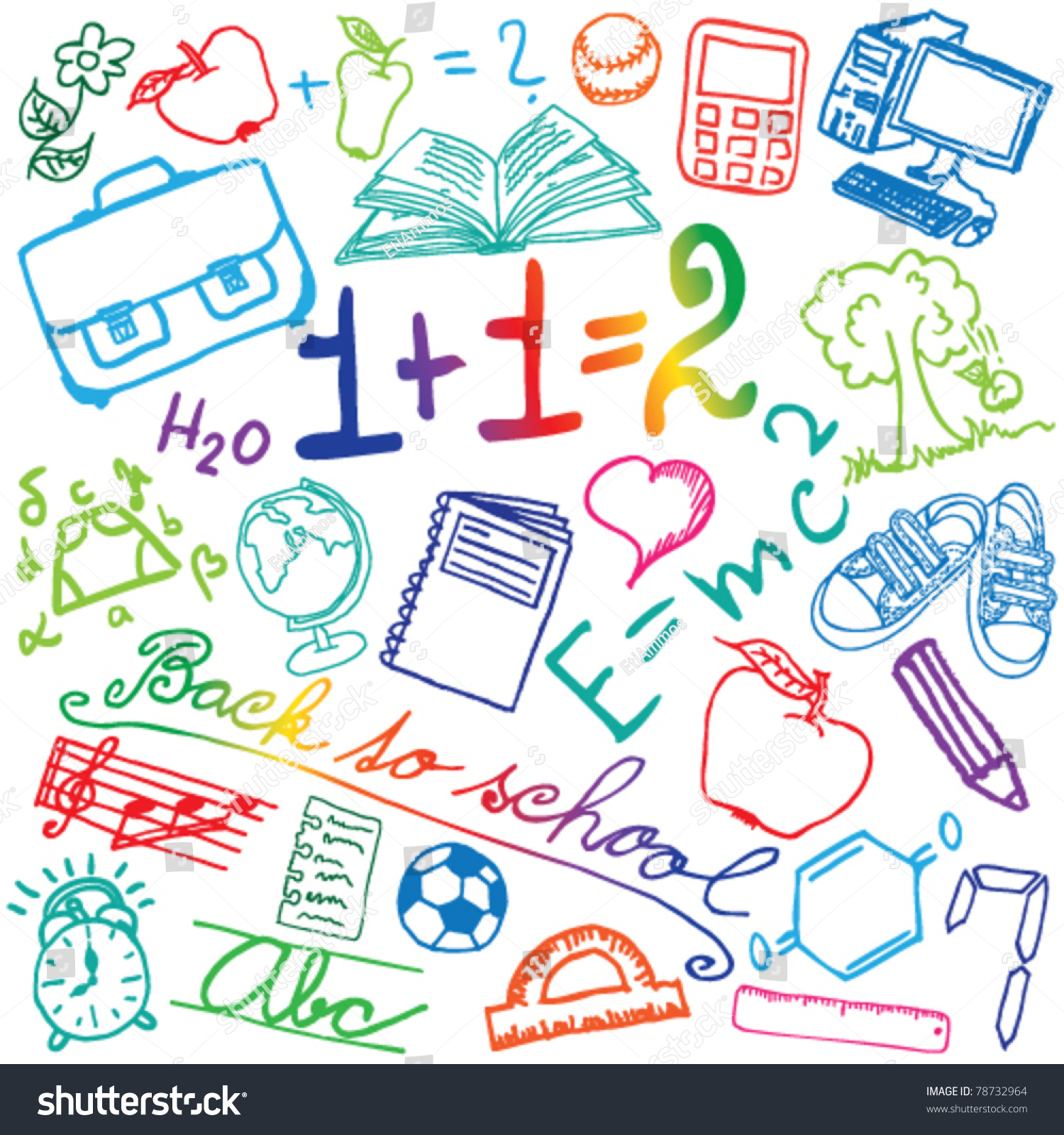Set colored school symbols stock vector 78732964 shutterstock set of colored school symbols buycottarizona Image collections