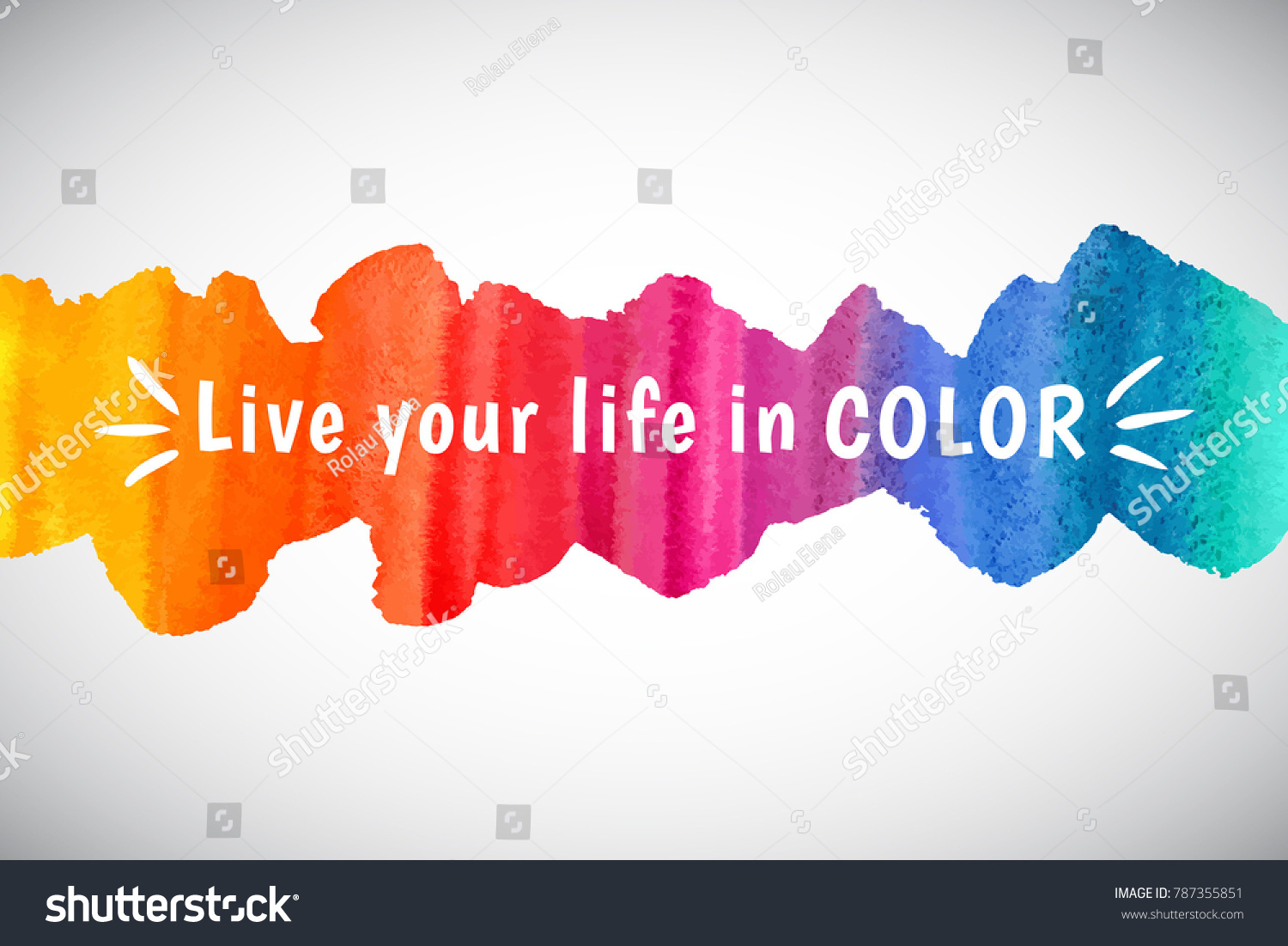 Color Your Life Quotes Watercolor Vector Rainbow Border Frame Inspiration Stock Vector