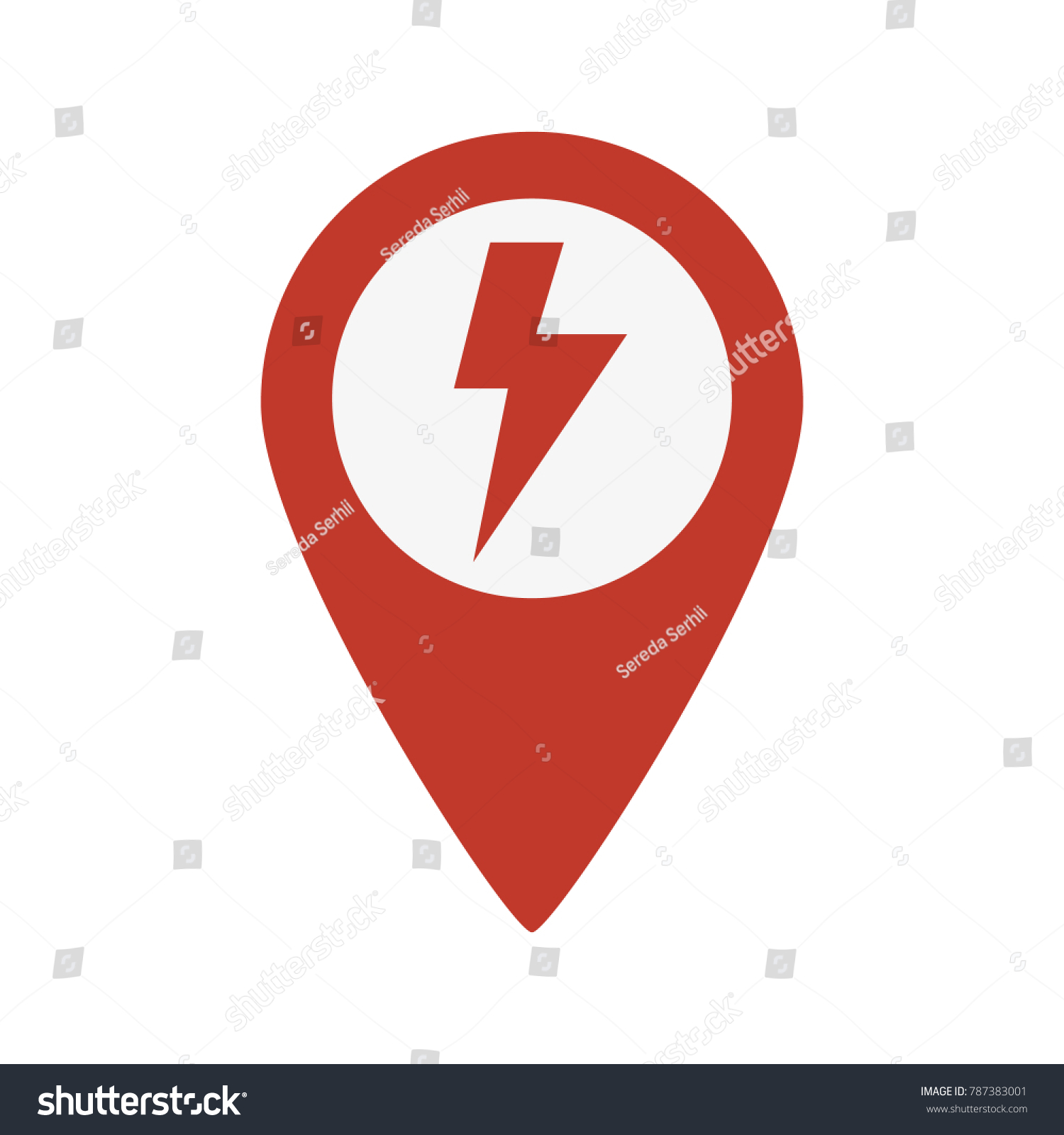 Map Pointer Icon Electricity Symbol On Stock Vector 787383001 ...