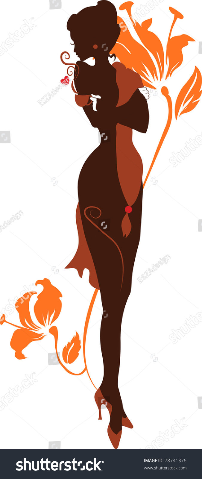 Elegant Silhouette elegant silhouette beautiful woman standing with a ...