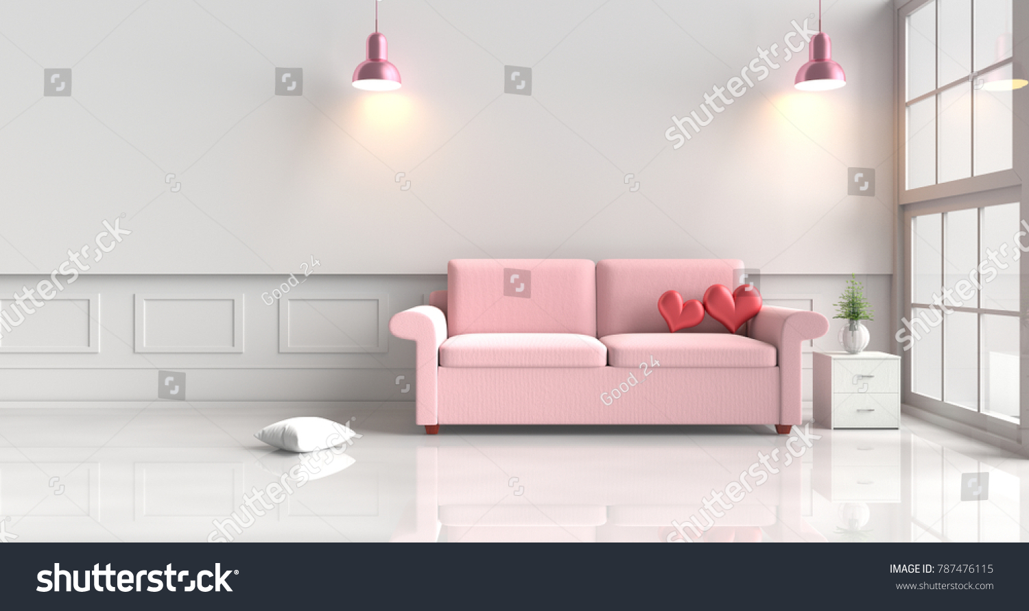 Two Red Hearts On Pink Sofa Stock Illustration 787476115 - Shutterstock
