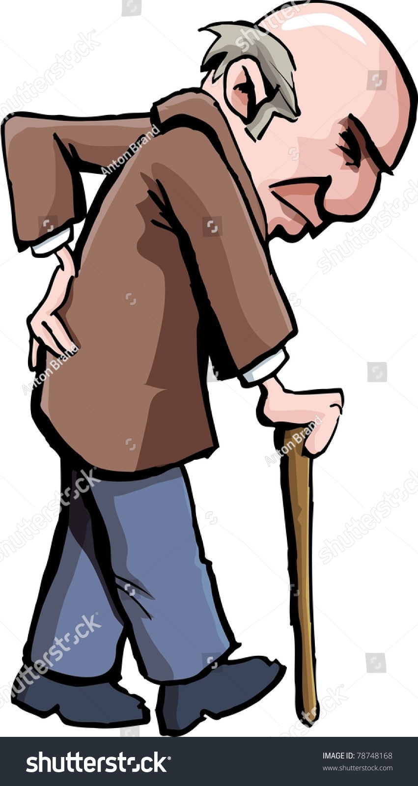 Cartoon Of Old Man With A Walking Stick Isolated On White