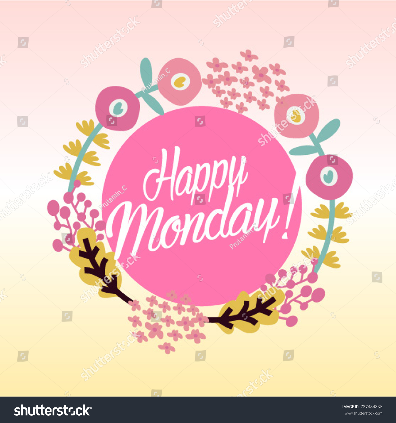 Happy Monday Beautiful Greeting Card Poster Stock Vector Royalty