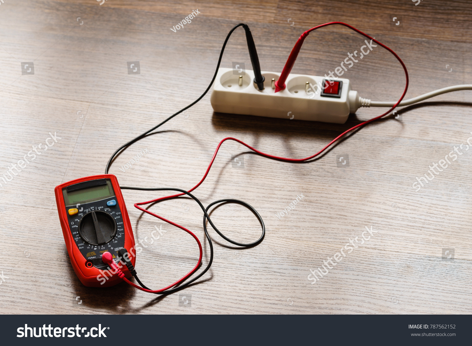 Measurement Voltage Electrical Socket Extension Cord Stock Photo Wiring A Of In With Multimeter On Wooden Floor Background