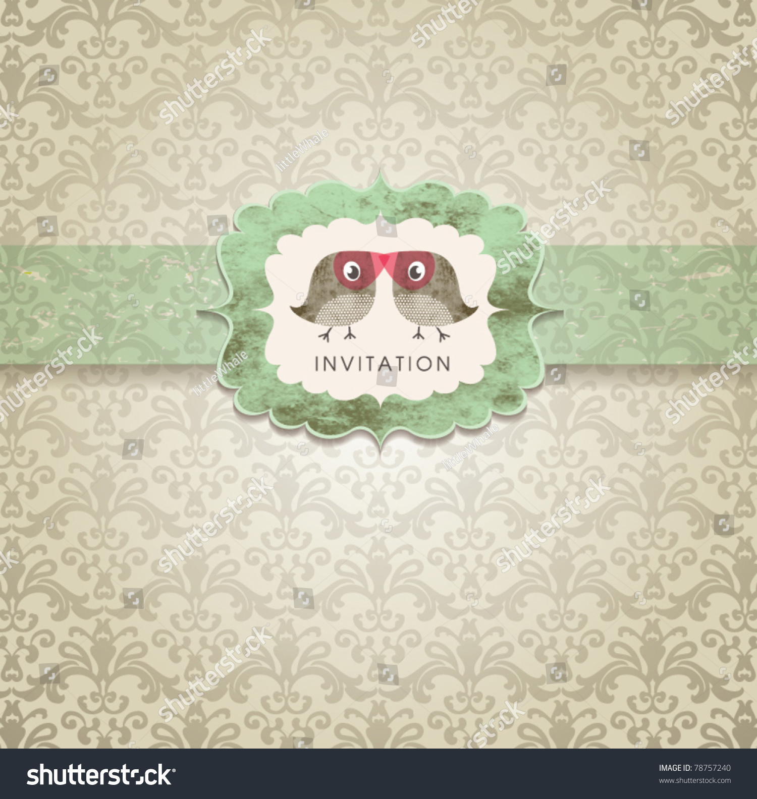 Cute Wedding Invitation Card Vintage Ornament Vector – Cute Wedding Invitation Cards