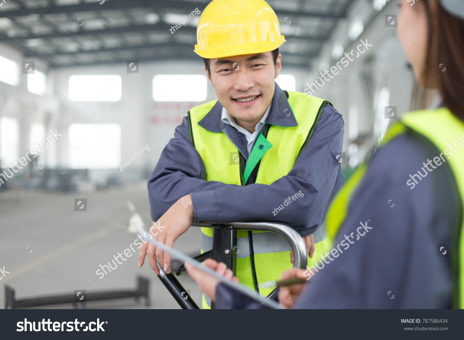 Young Chinese Man Woman Work Motor Stock Photo (Edit Now) 787586434