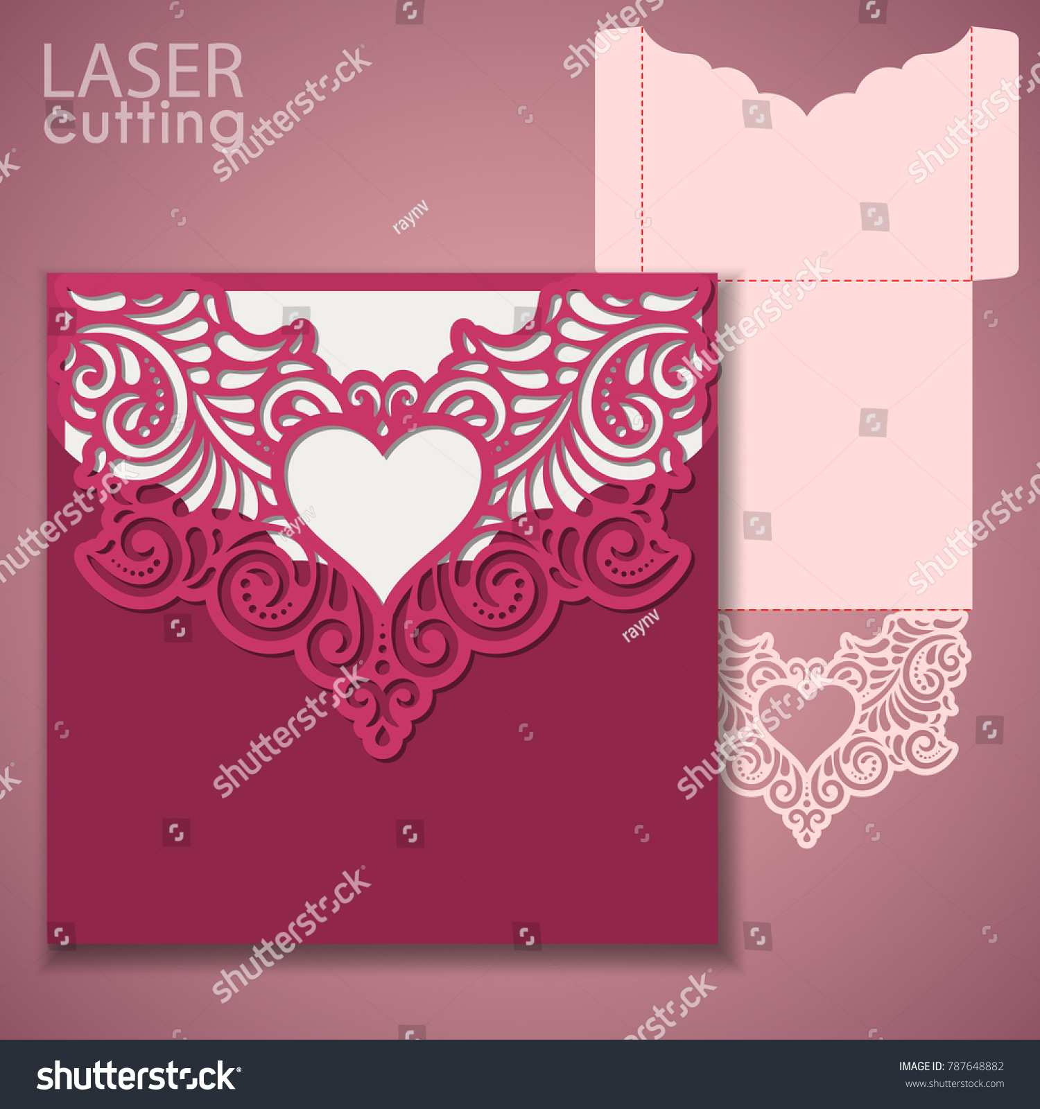 Laser Cut Wedding Invitation Greeting Card Stock Vector (Royalty ...