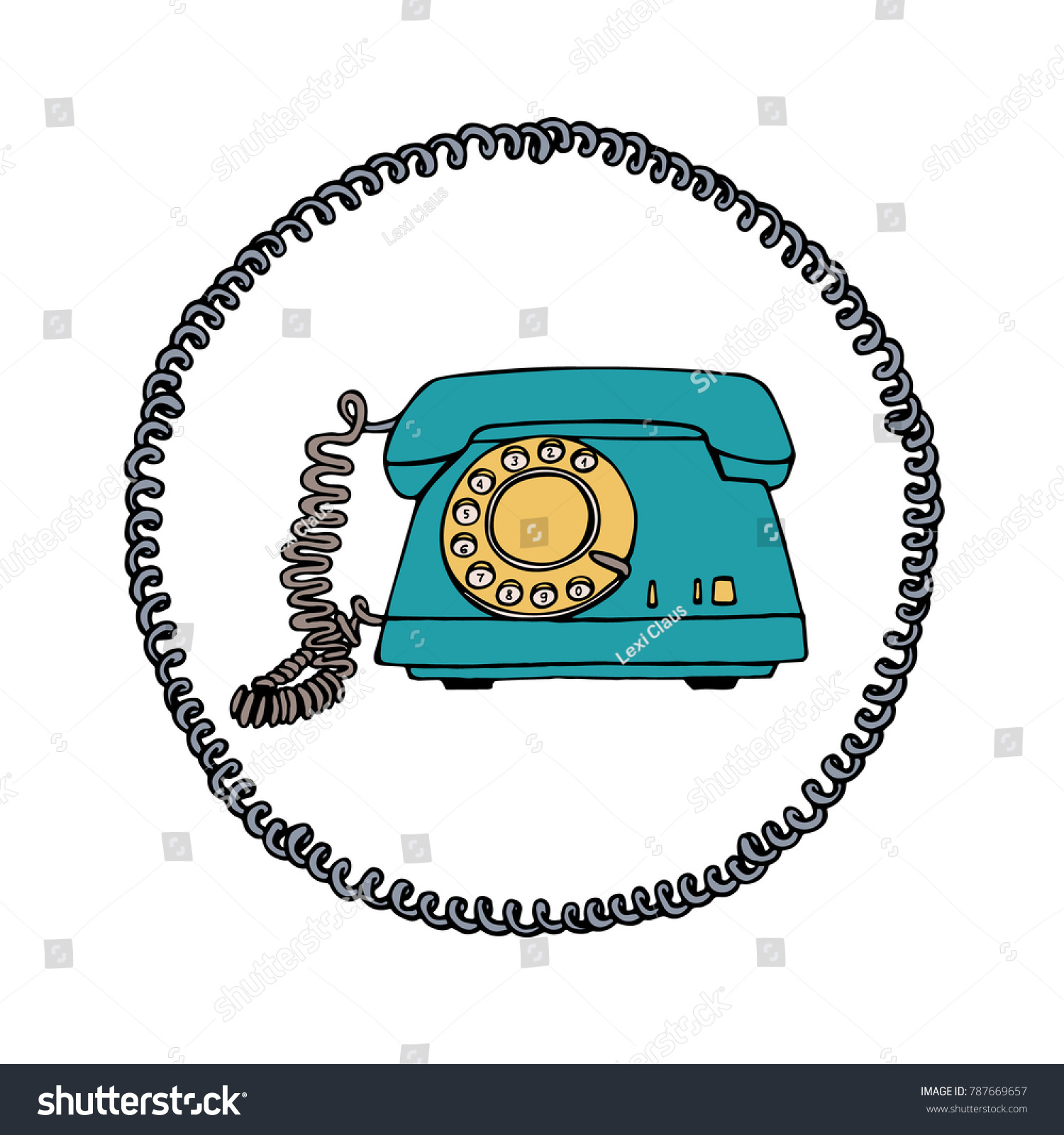 Vector Illustration Vintage Telephone Round Wire Stock Vector ...