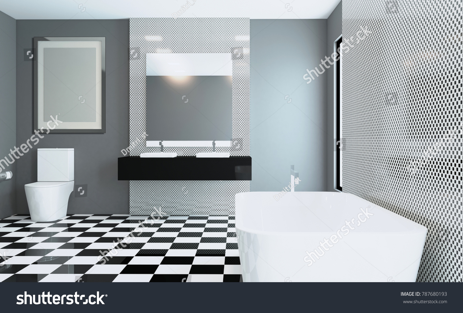 Spacious Bathroom Gray Tones Heated Floors Stock Illustration ...